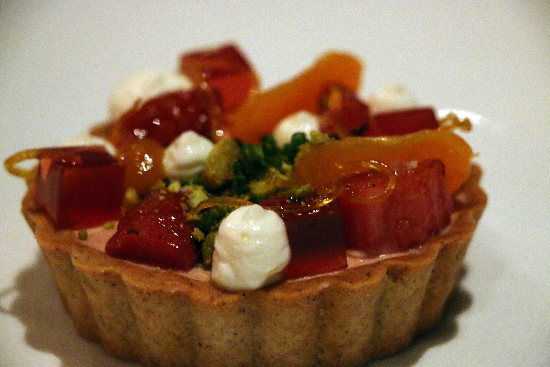 Foie gras tartlet with rhubabrb brulée.