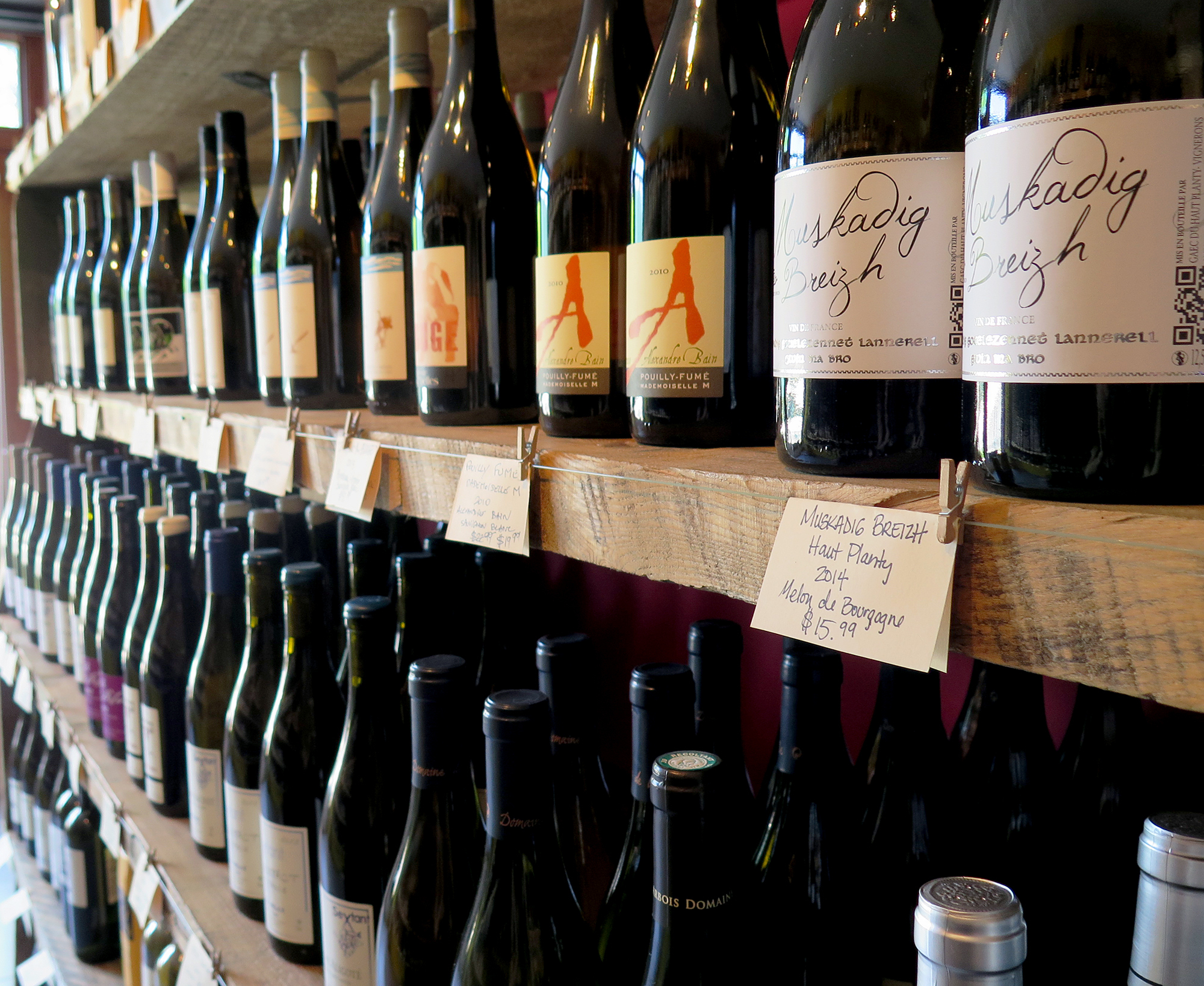 Bottles for sale at Passage de la Fleur, a natural wine shop in Brooklyn, N.Y. For some, natural wines must be completely unadulterated — without the use of sugar, clarifiers or other additives common in modern winemaking. Other natural winemakers, however, will use a little sulfur dioxide or added yeast to correct problems, according to Stephen Meuse, a wine buyer in Massachusetts.