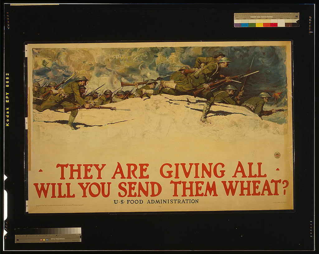 "A poster produced by the U.S. Food Administration during World War I. ""There was a feeling that the troops deserved white bread, and the rest of us could add cornmeal or rye flour,"" says Joanne Lamb Hayes, author of Grandma's Wartime Kitchen."