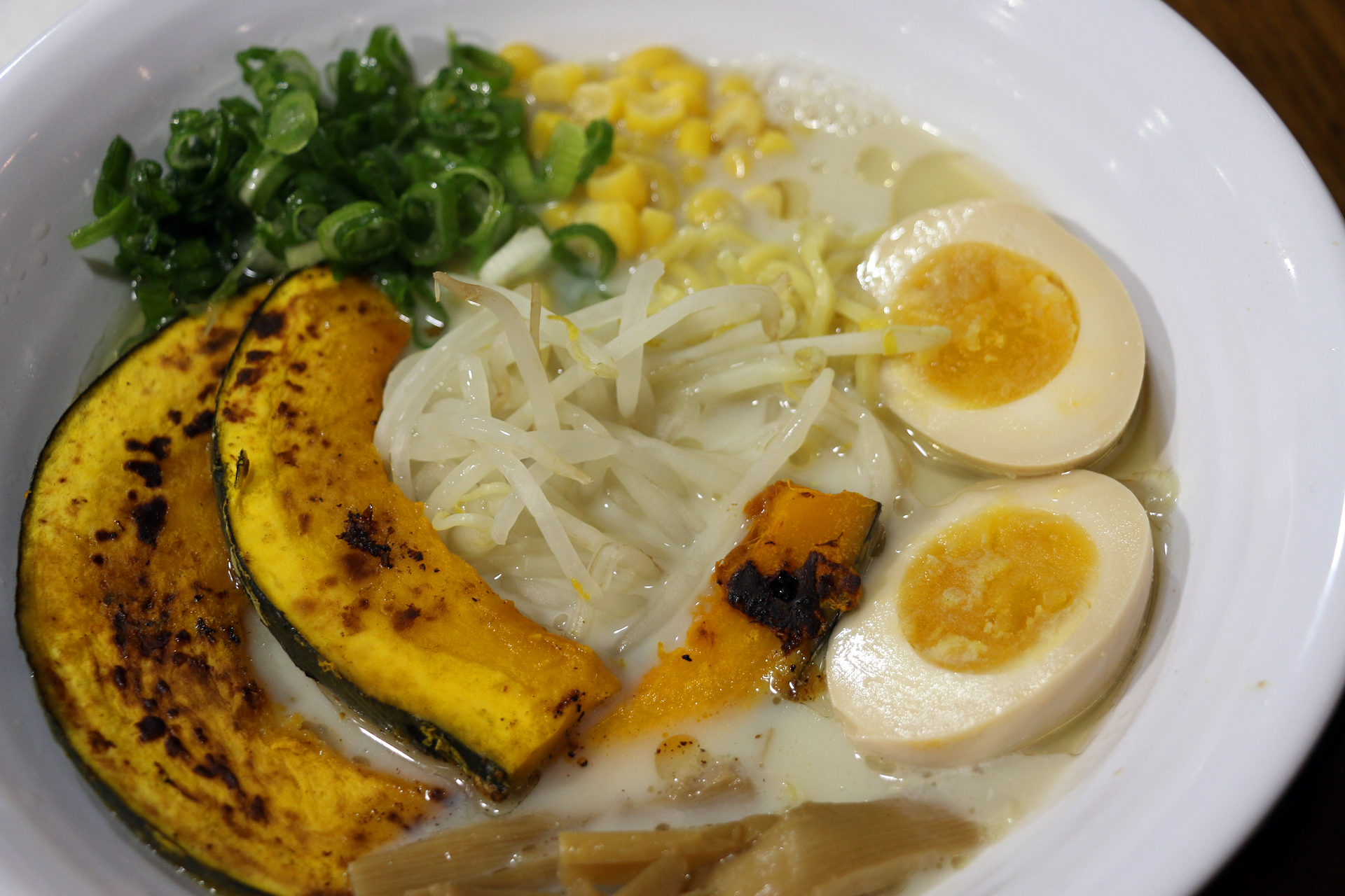 Soy milk ramen, which is vegan if you omit the egg, at Shiba Ramen
