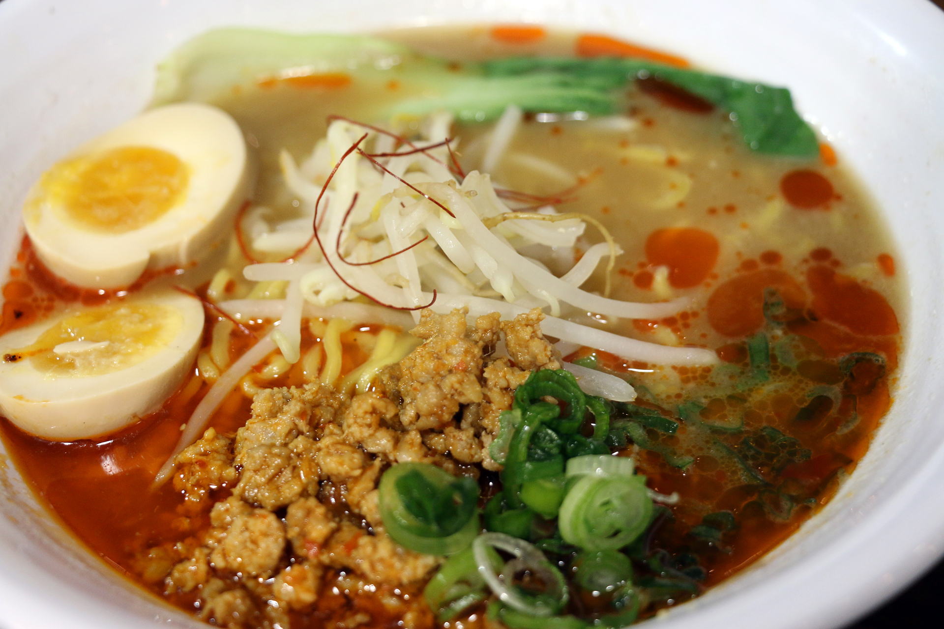 Spicy ramen with ground pork