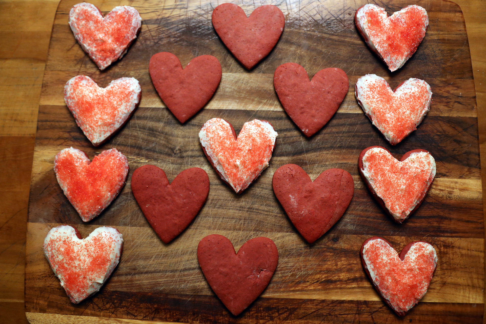 Red Velvet Sugar Cookie Hearts with Cream Cheese Frosting