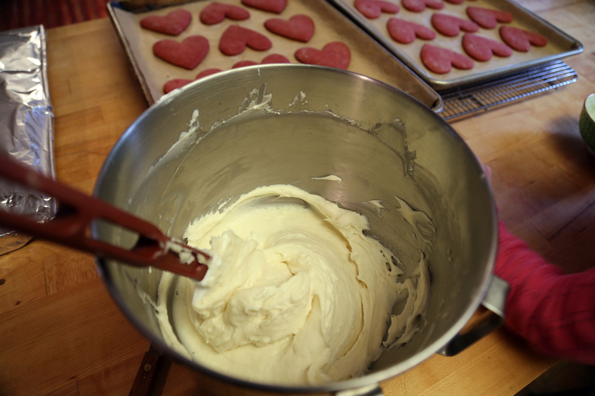 Prepare the frosting to be used right away.