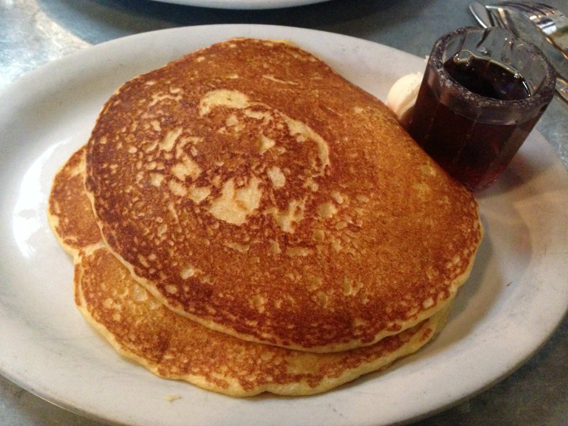 Cornmeal pancakes at Rick & Ann's Restaurant