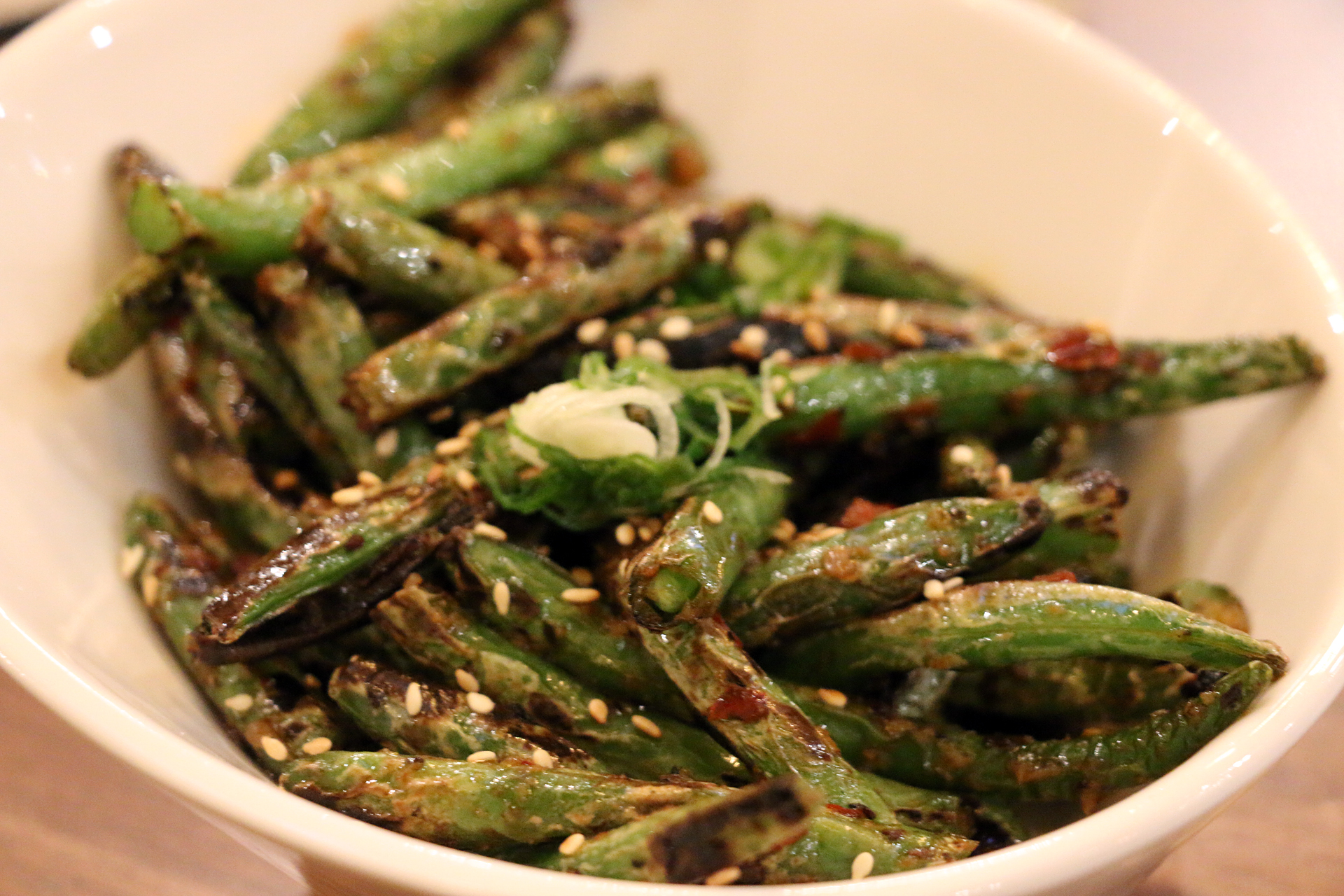 Dry-sautéed spicy string beans.