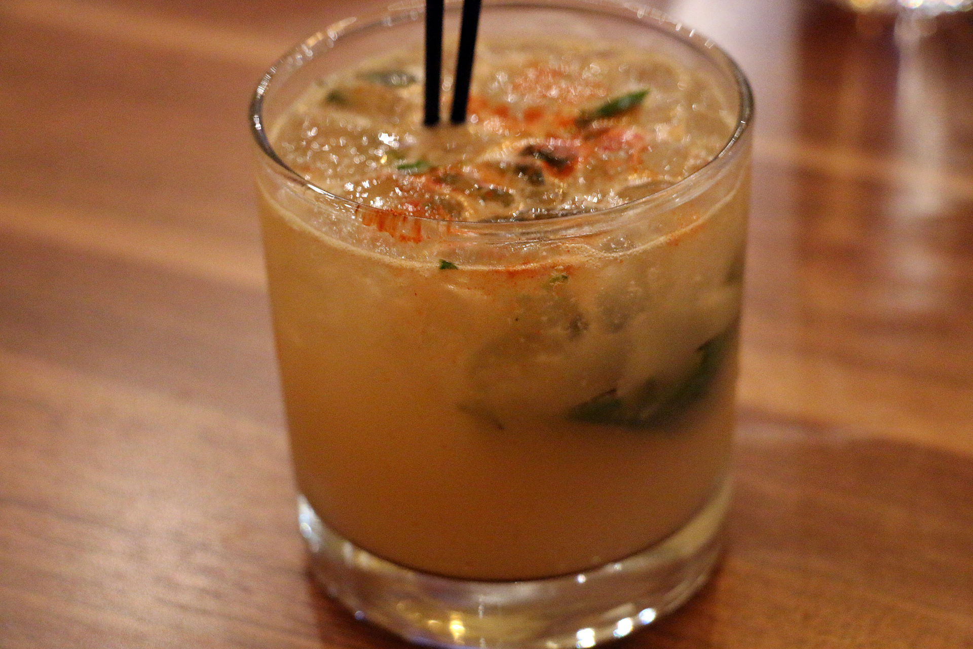 El Niño cocktail: mezcal with grapefruit juice, Thai basil and cayenne.