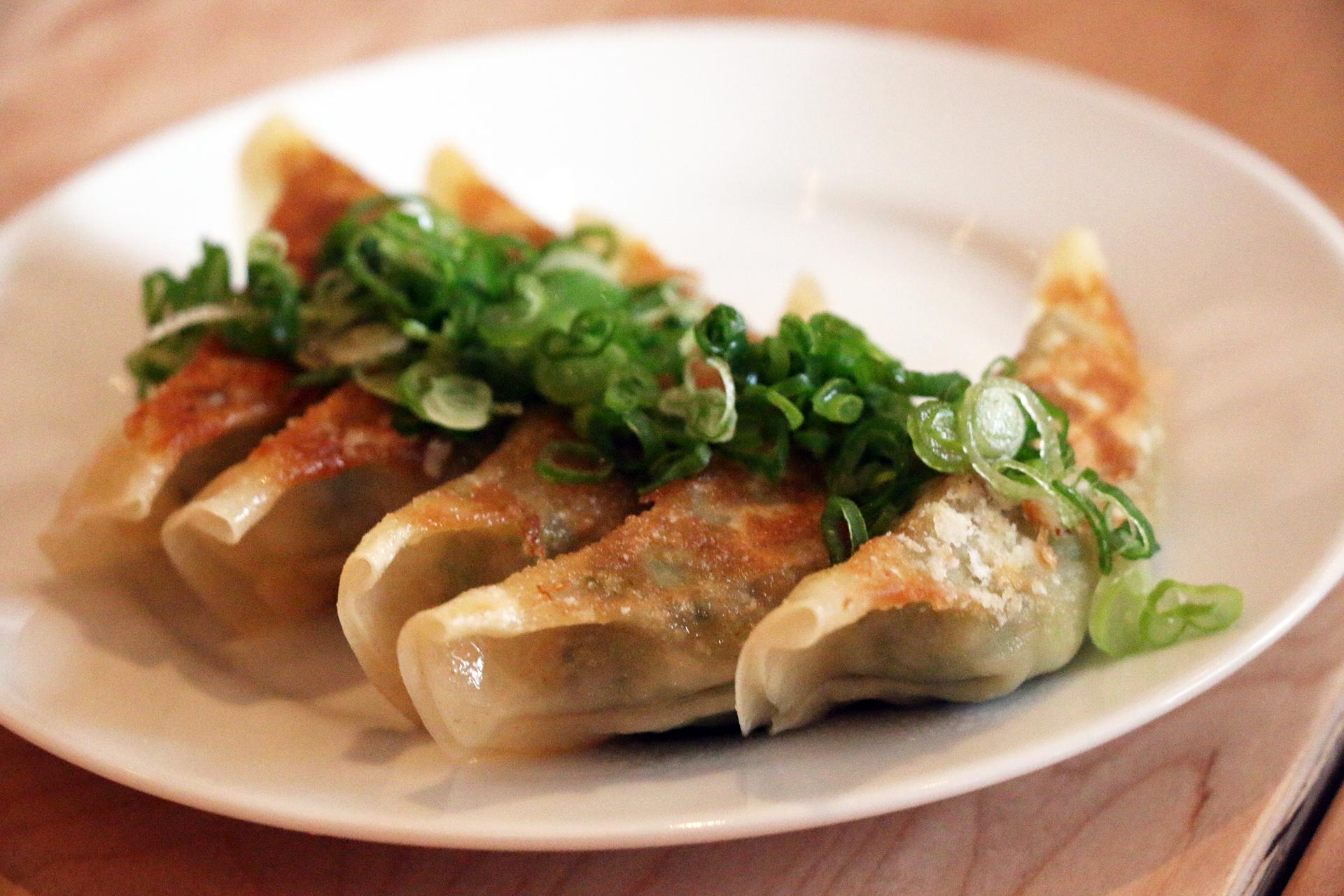 Handmade pork gyoza.