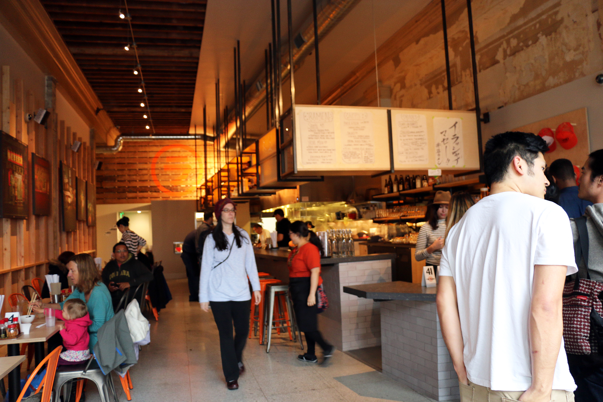 The long, high-ceilinged dining room at Itani Ramen