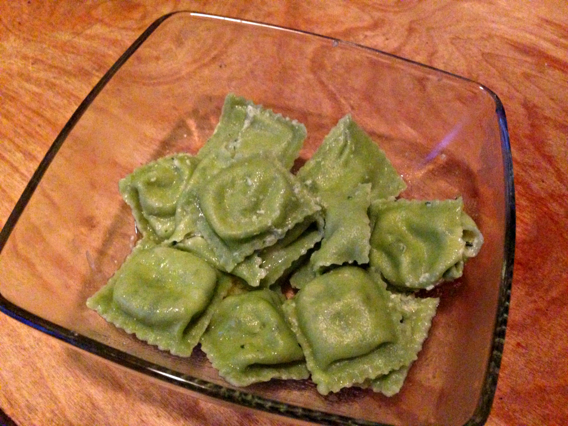 Spinach and ricotta ravioli from Genova Delicatessen.