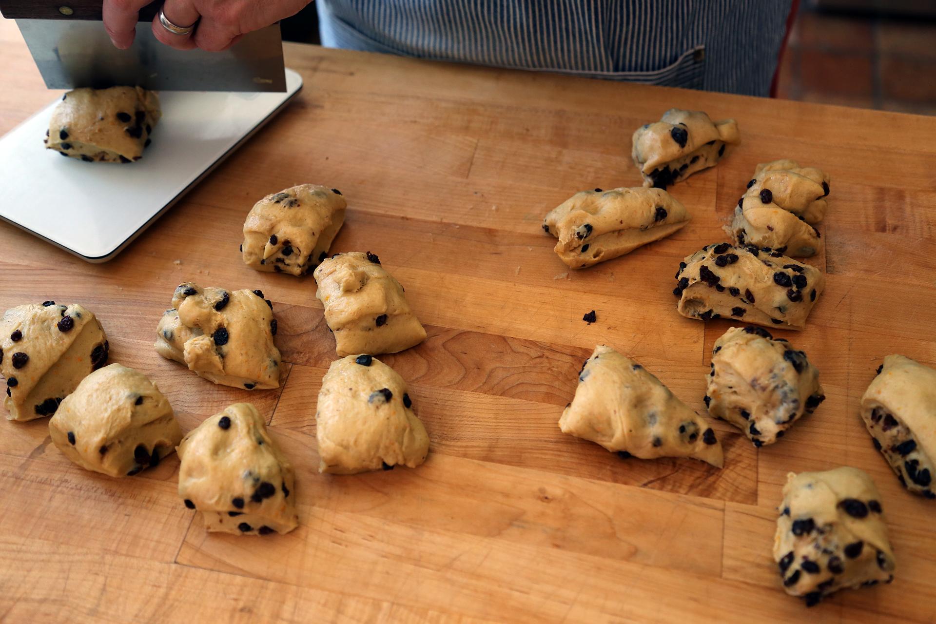 Divide the dough into 16 equal pieces.