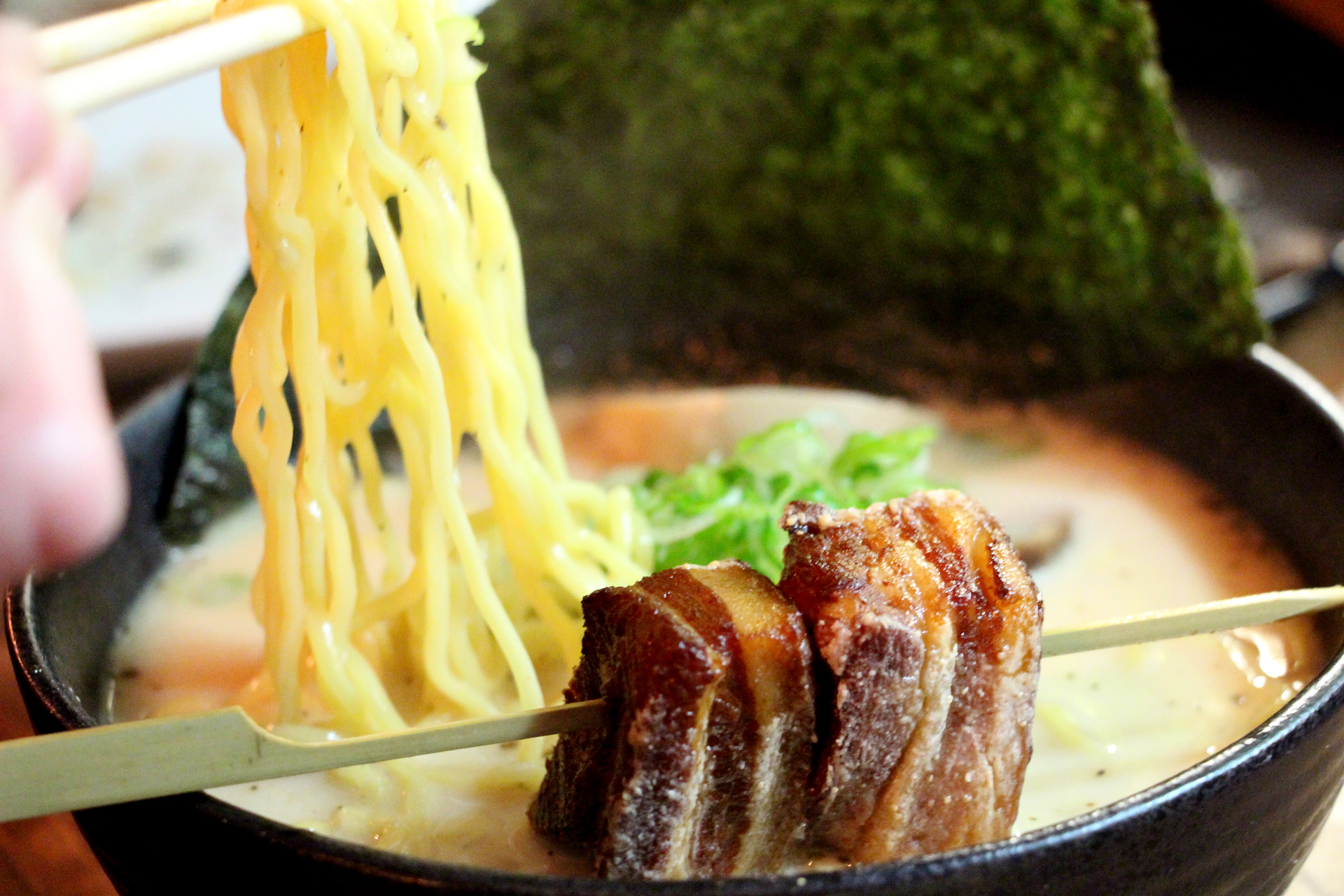 Izakaya Sozai's ramen tonkotsu bowl with fried braised pork belly.