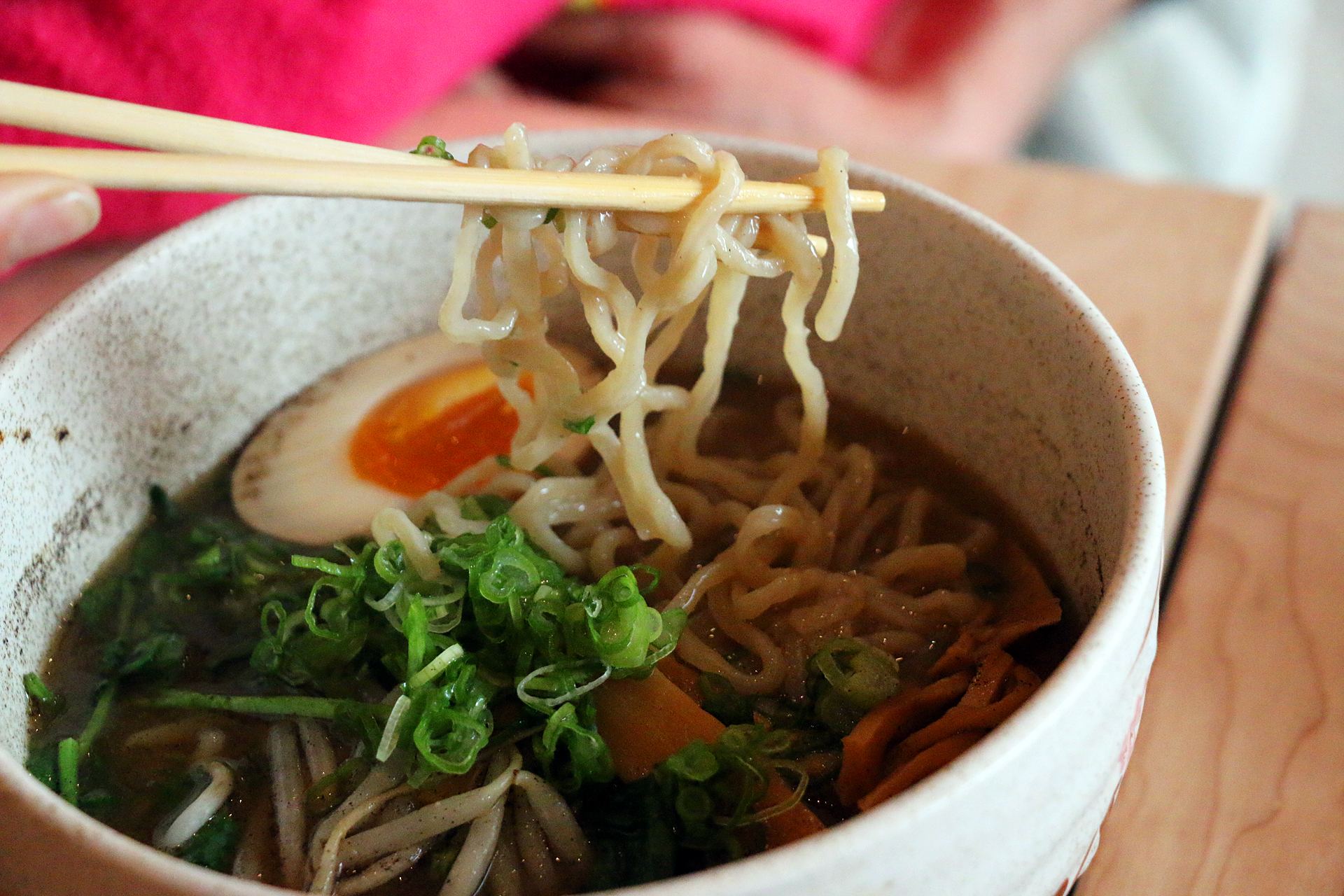 The addictive homemade noodles in the Miso ramen.