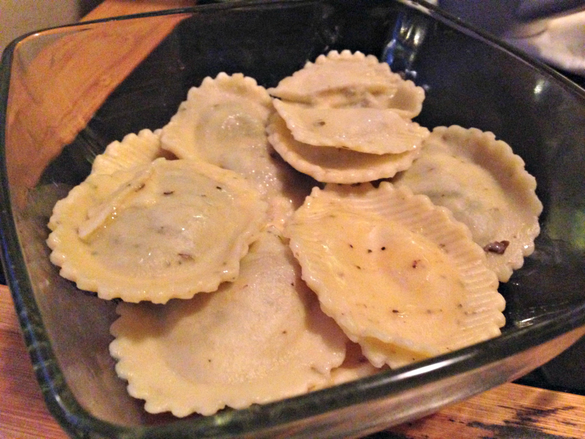Porcini ravioli in herb pasta from Pasta Gina