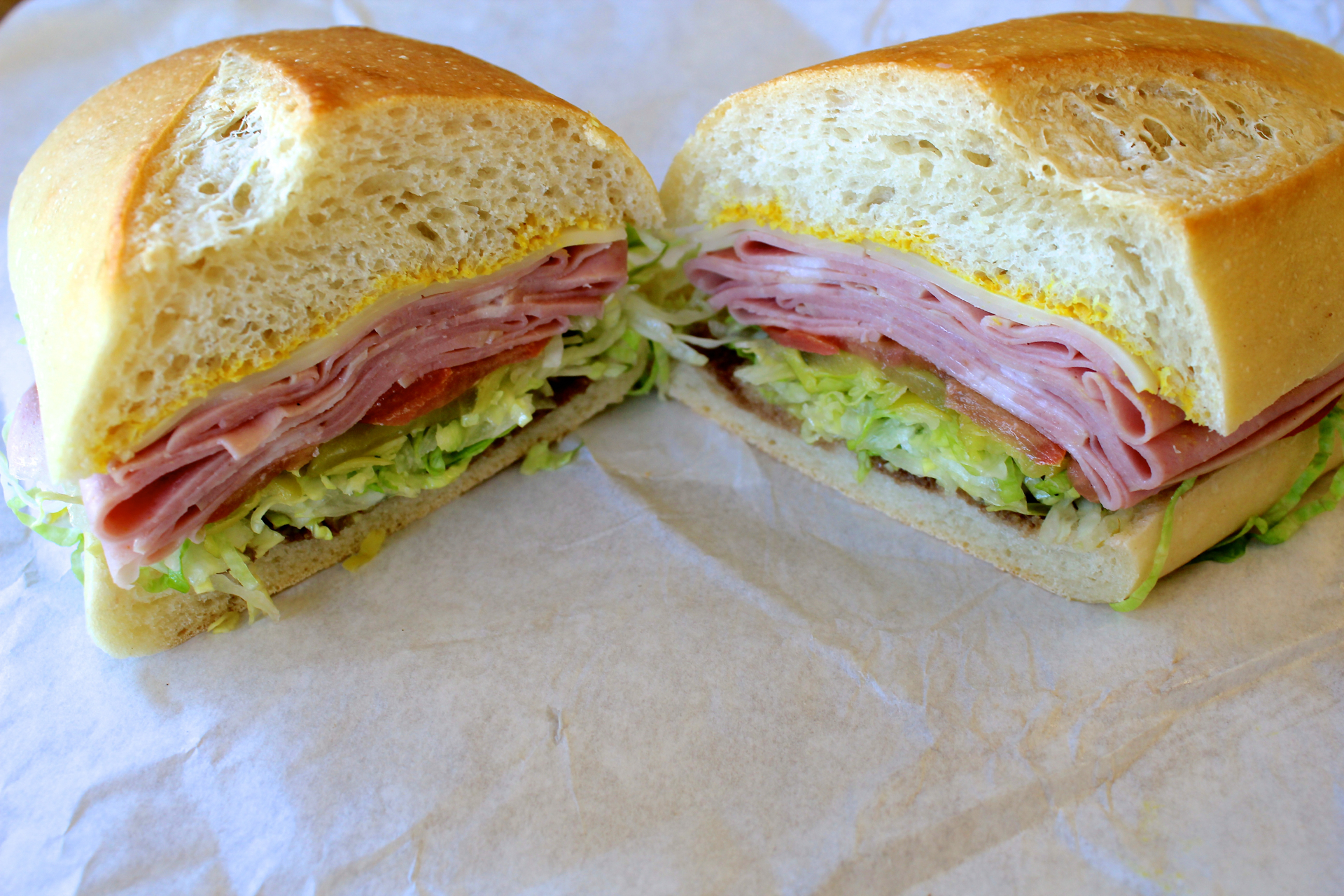 A mortadella sandwich at Chiaramonte's Deli & Sausages.