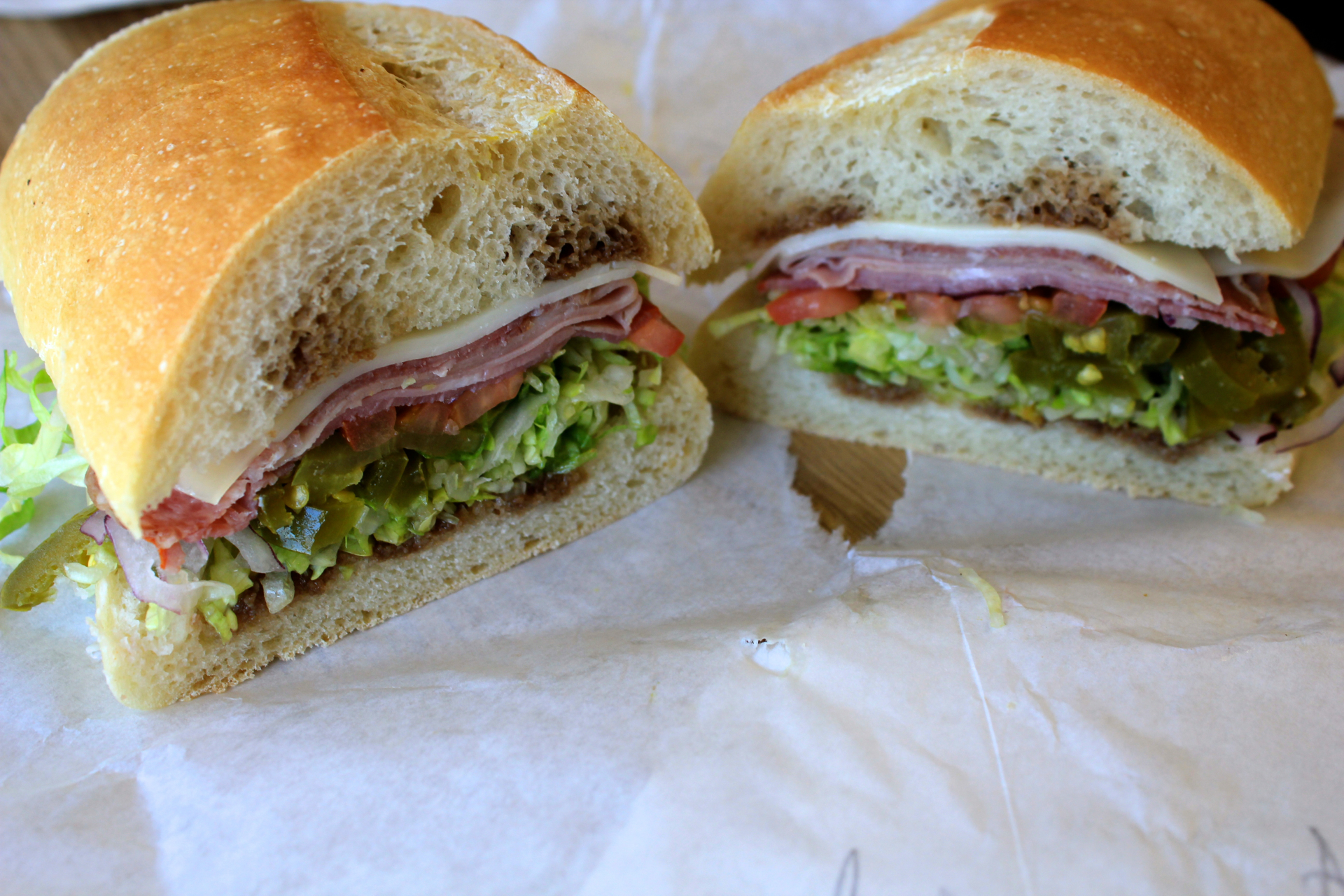 An Italian submarine sandwich with mortadella, cappocolo and Genoa salami at Chiaramonte's Deli & Sausages.