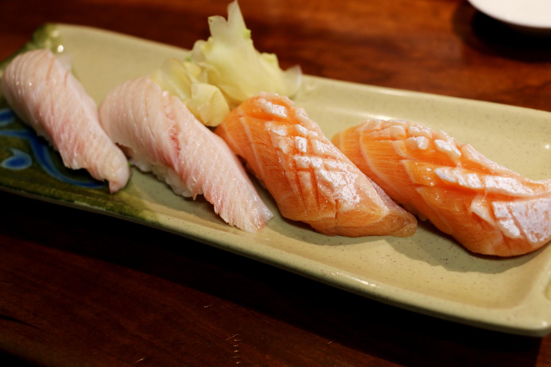 Hamachi (yellowtail) and sake (salmon) belly.