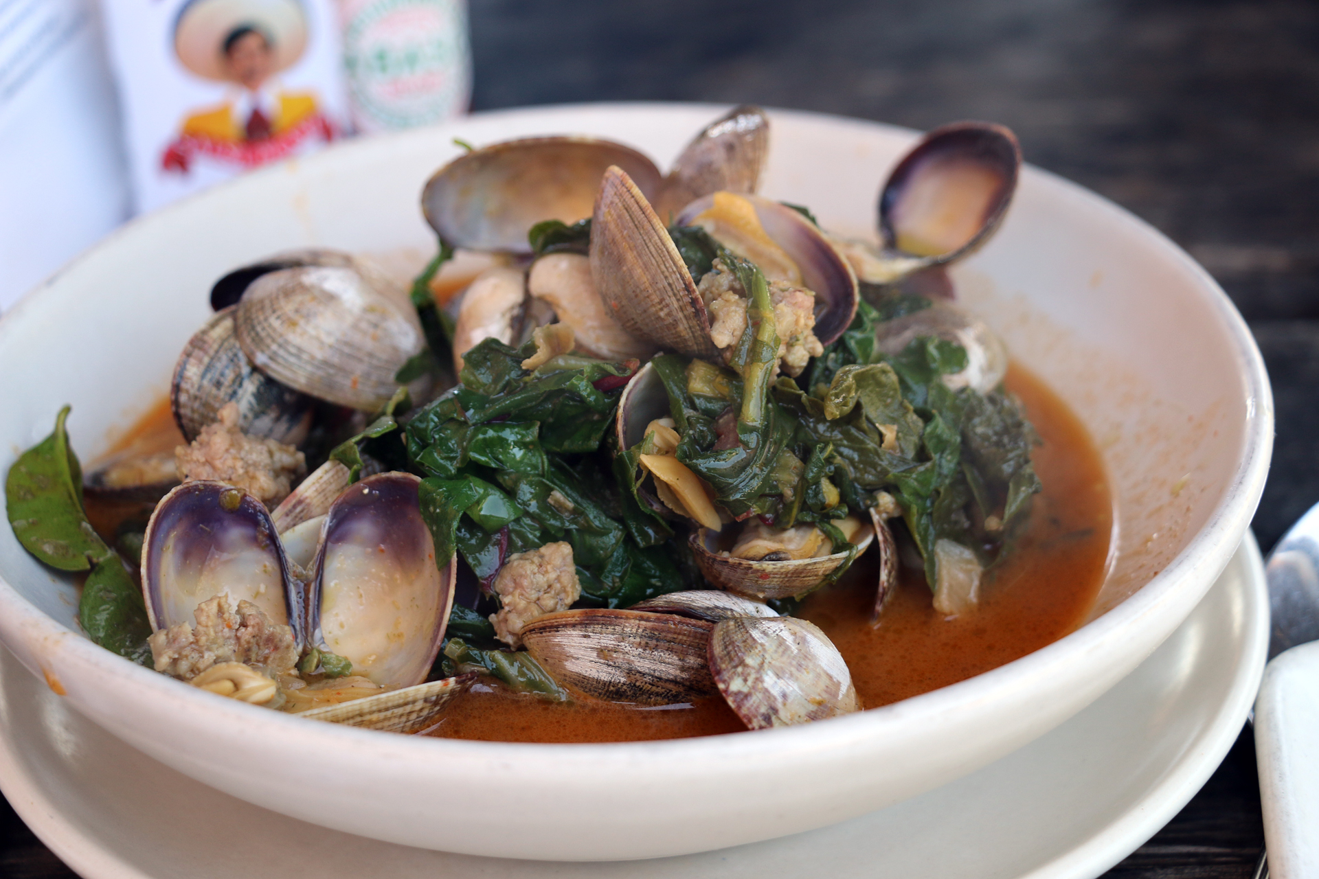 Clams with sausage and lemongrass at Hog Island.
