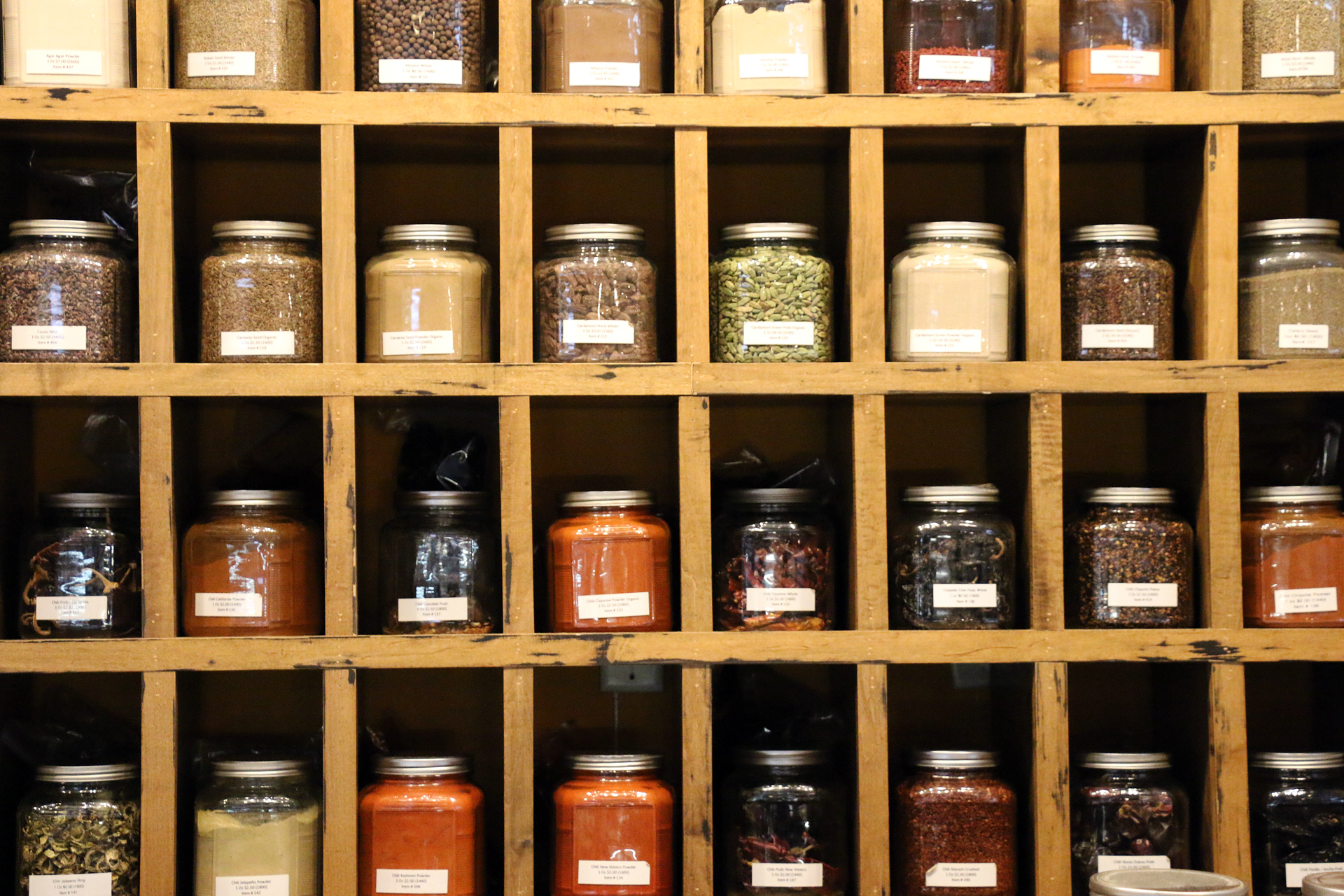 Rows and rows of spices at Whole Spice.