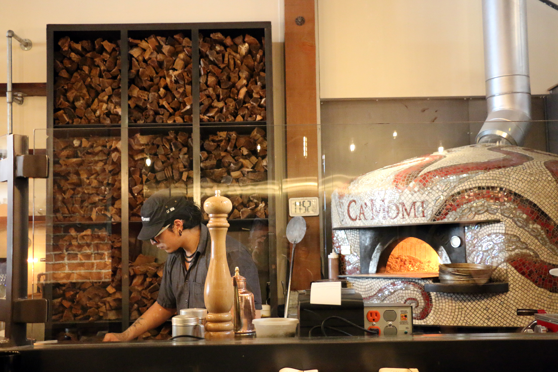 The wood-burning oven at Ca' Momi Osteria in downtown Napa.