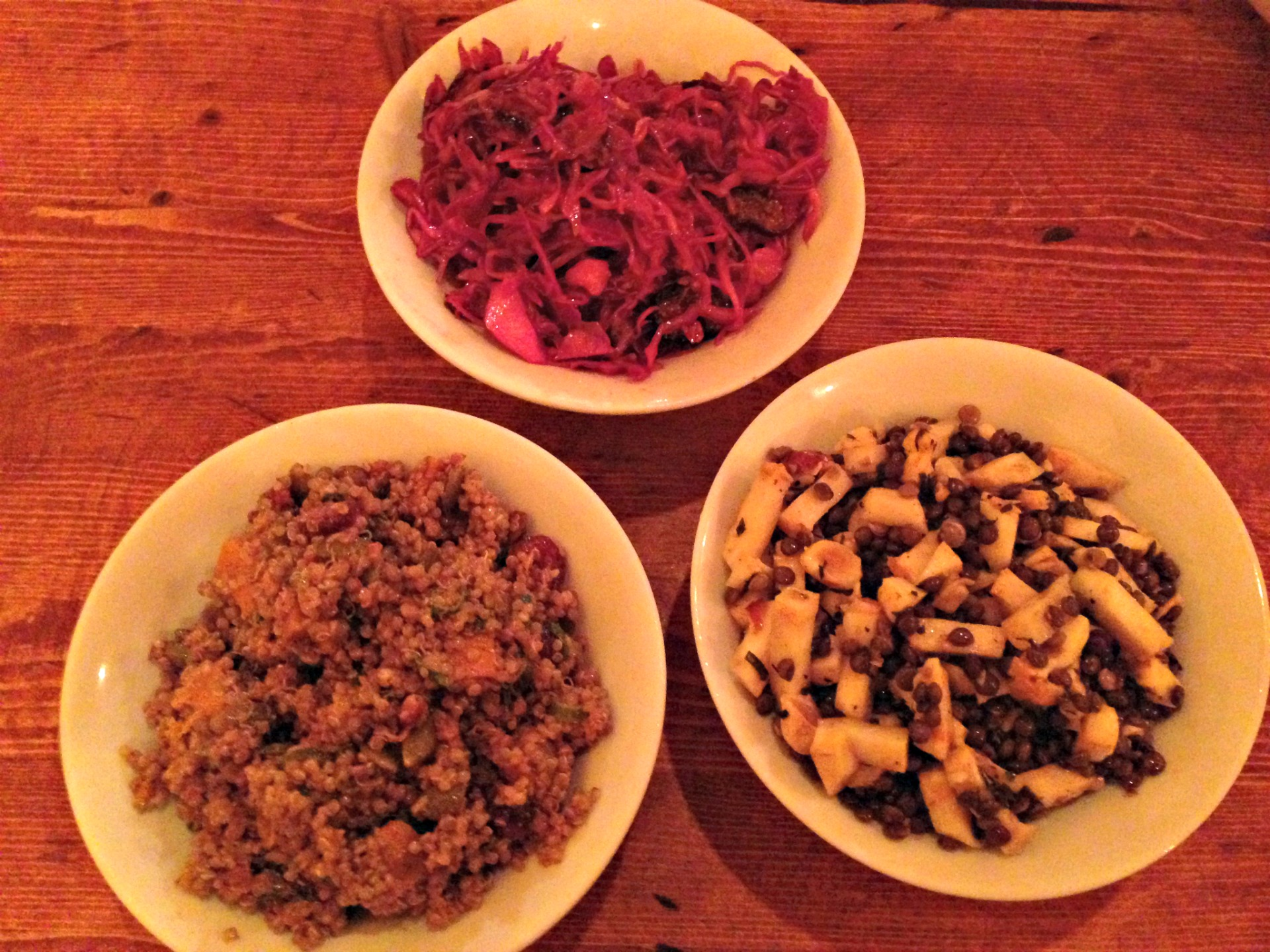 Salads at Ba Bite, clockwise from top: cabbage, lentil and celeriac, and butternut squash and quinoa.