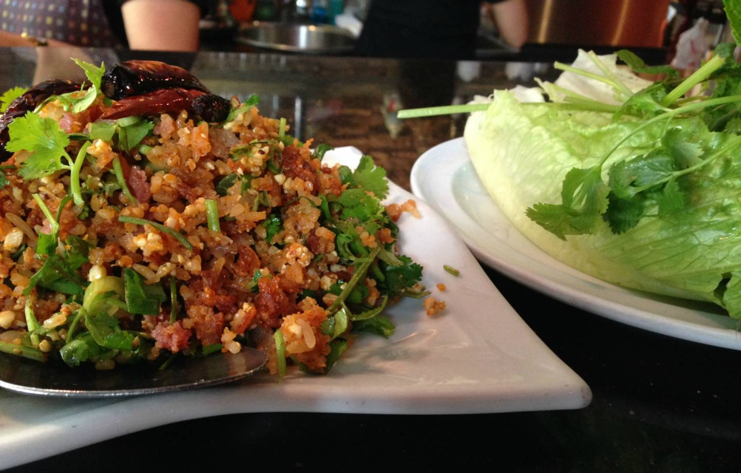 The fried rice ball salad at Champa Garden. Shelby Pope