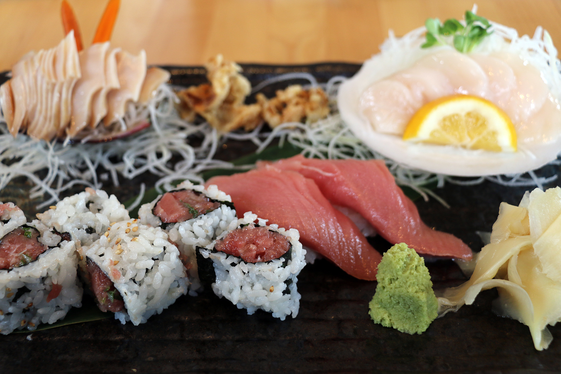 Daily Specials: An assortment of nigiri sushi and sashimi at Kiku.
