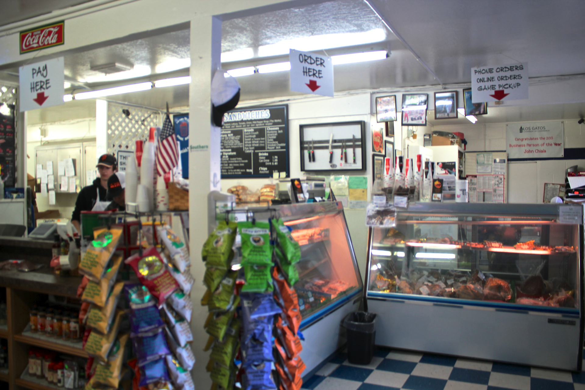 The deli counter at Los Gatos Meats & Smoke House.