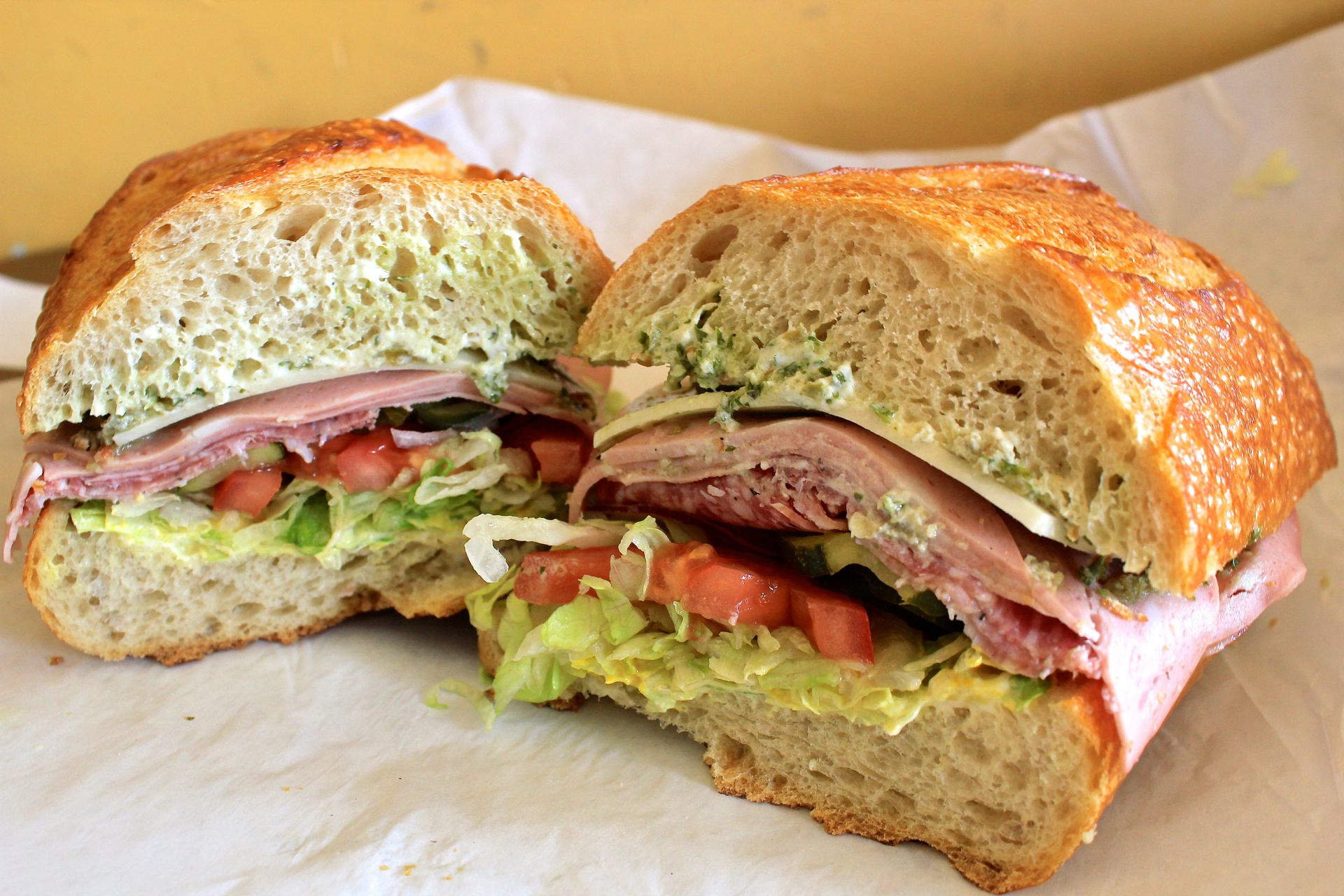 The Little Lucca combo sandwich with mortadella, provolone and salami.