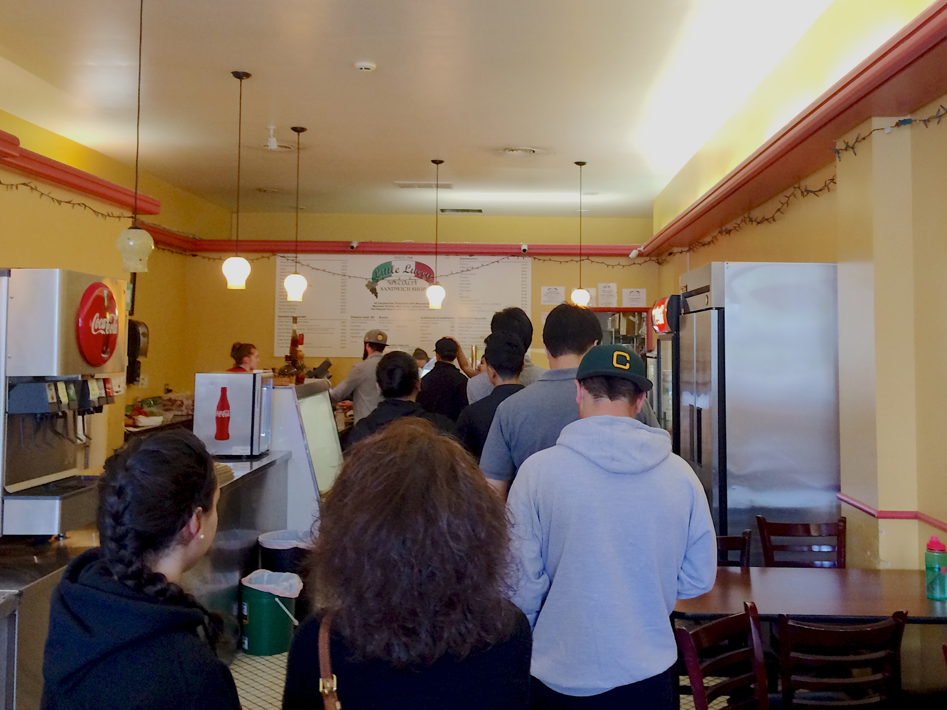 Customers waiting to order at Little Lucca in Burlingame.