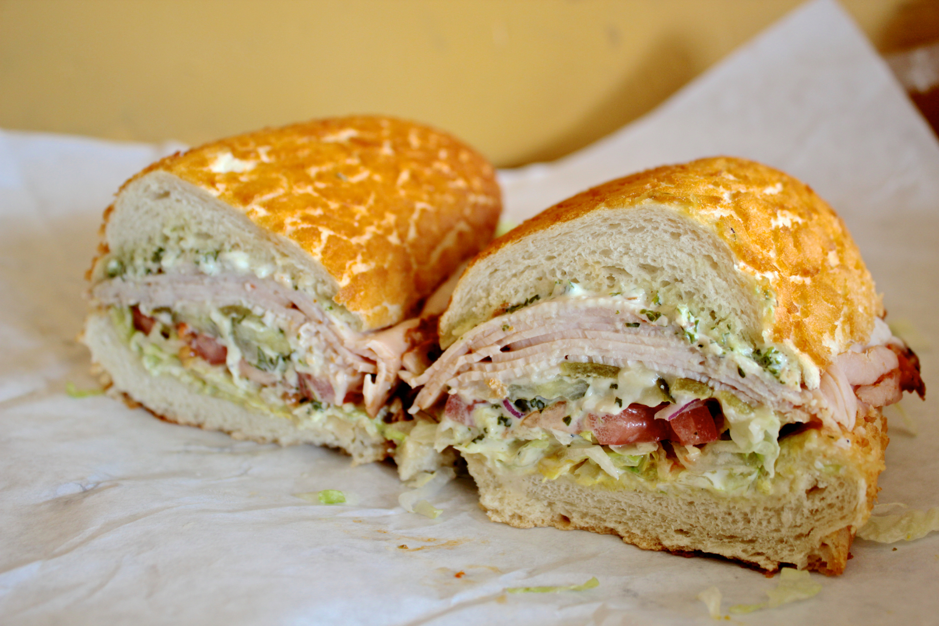 The Hot Bird features turkey, roasted green peppers, pepper jack cheese and caesar dressing.