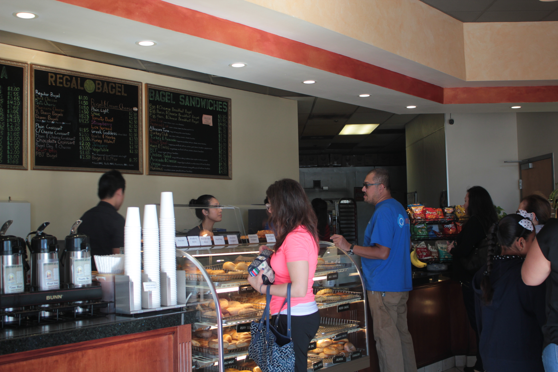 Customers ordering at Regal Bagel in San Jose.
