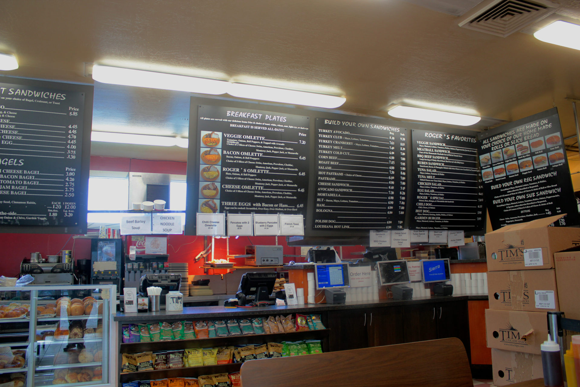The menu and counter at Roger's Deli & Doughnuts in Mountain View.
