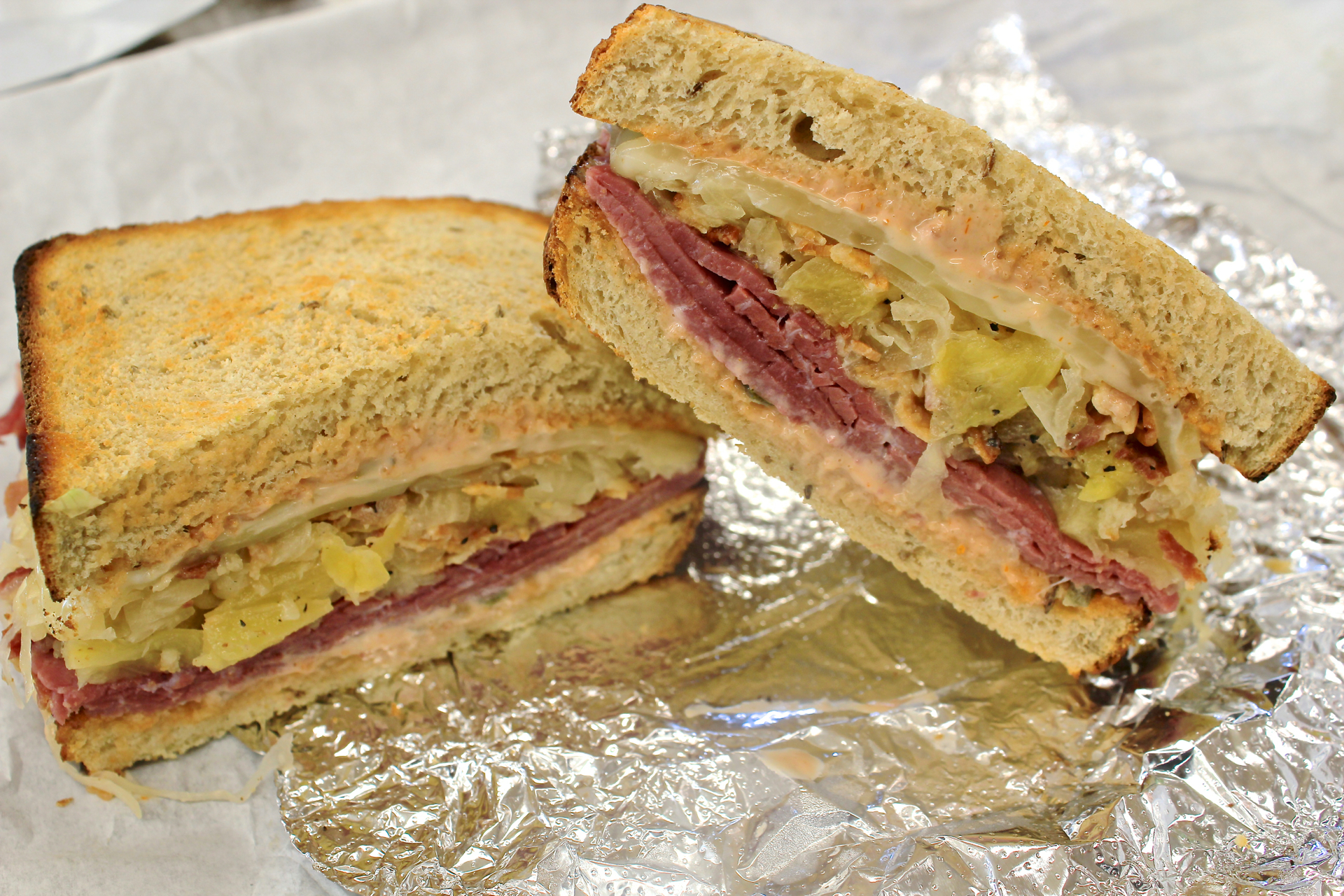 The Reuben sandwich at Roger's Deli & Doughnuts.