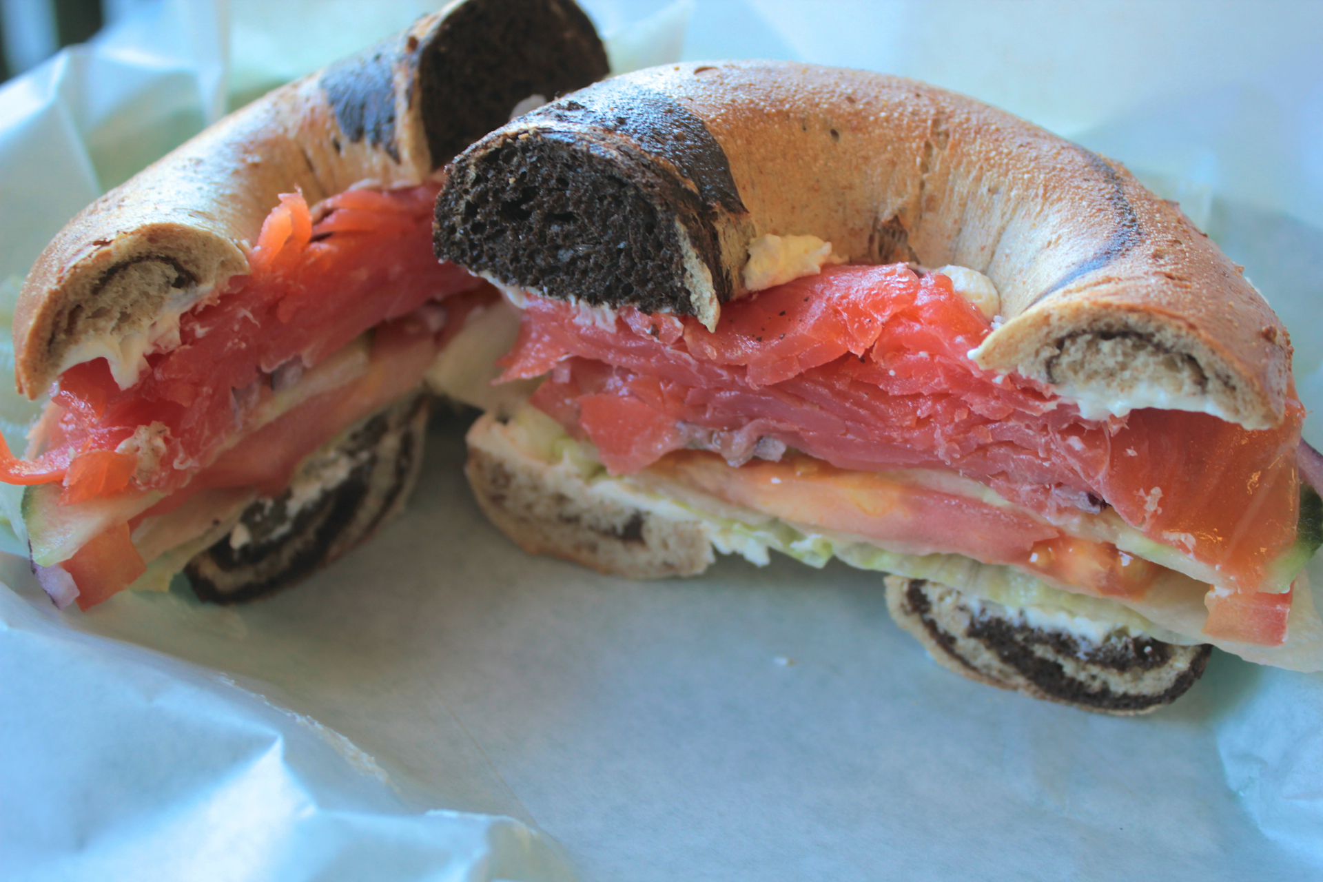 A lox sandwich on a pumpernickel-rye bagel at Saratoga Bagels.