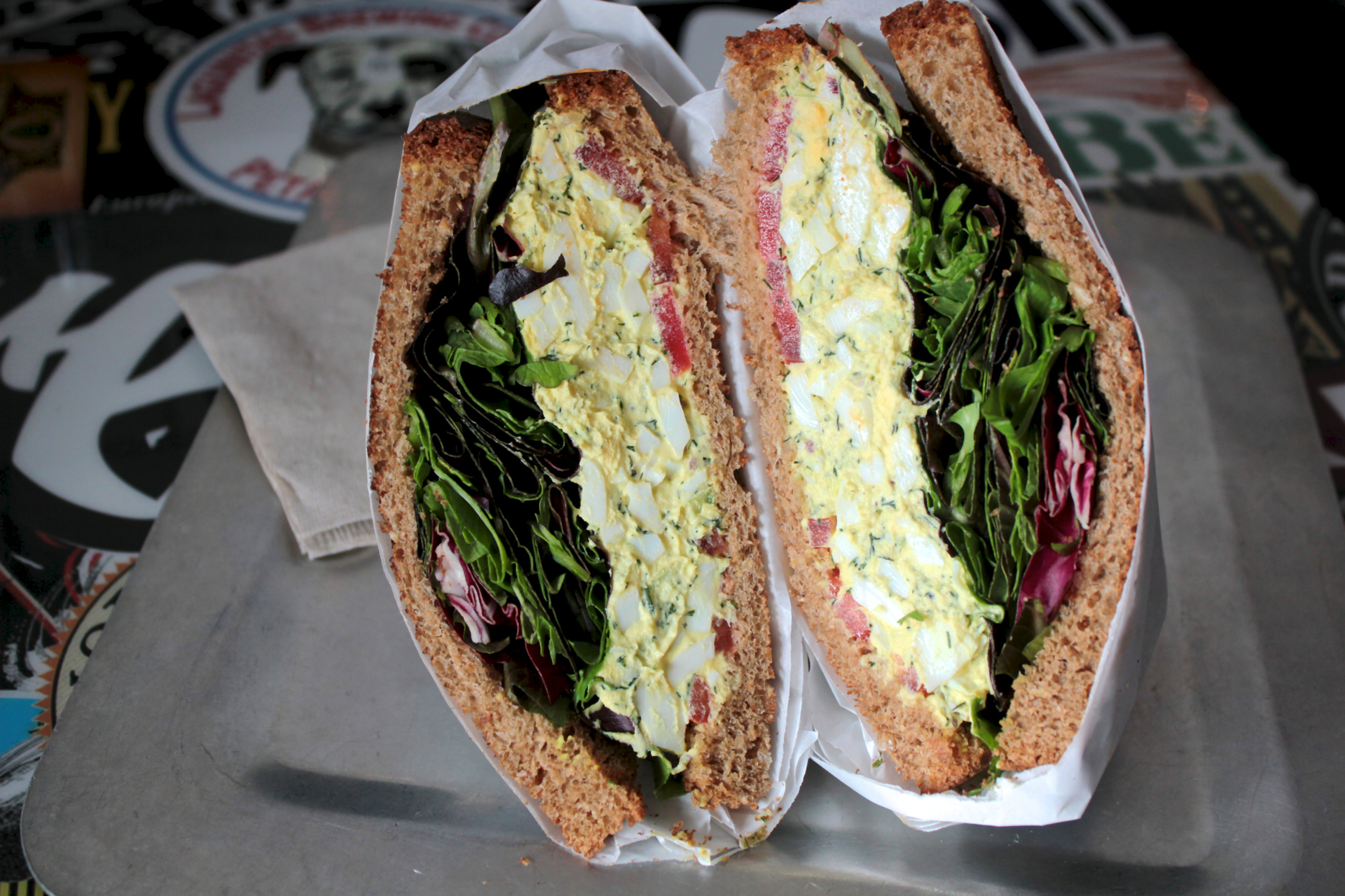 The Humpty Dumpty sandwich features house-made egg salad, red onions, dill, tomatoes and mixed greens.