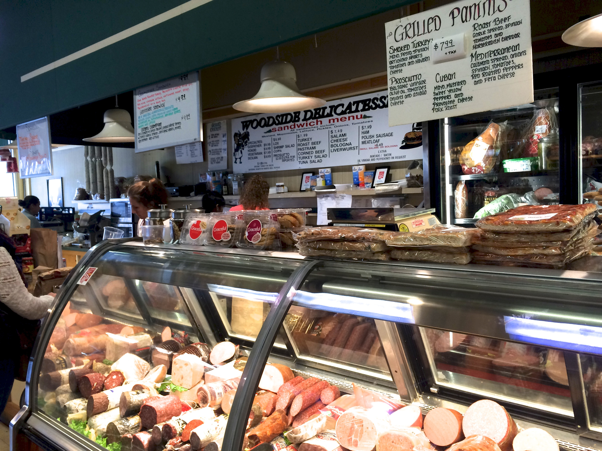 The deli counter at Woodside Deli.