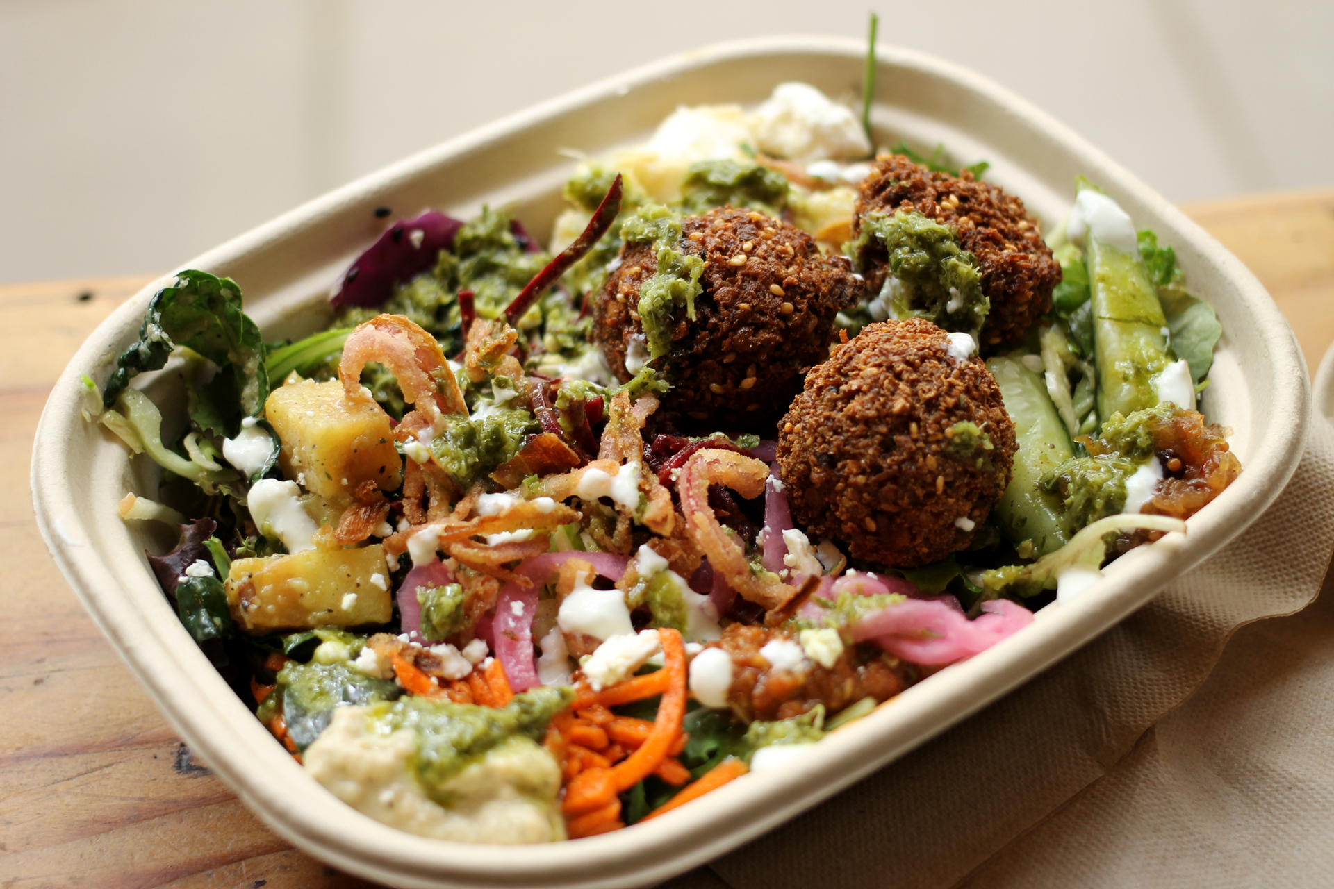 A falafel salad from Liba Falafel.
