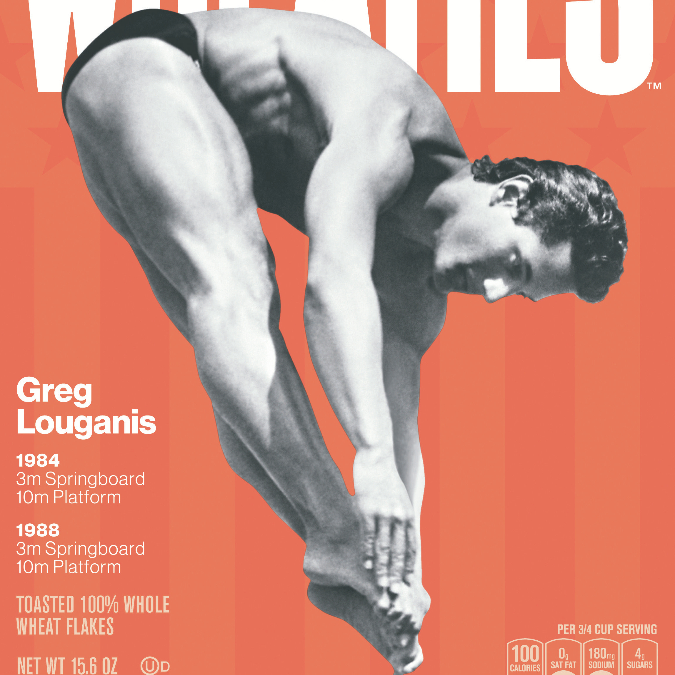 "Greg Louganis in an inward dive pike on the front of the Wheaties box. The ""legends"" series boxes will be on shelves starting in May."