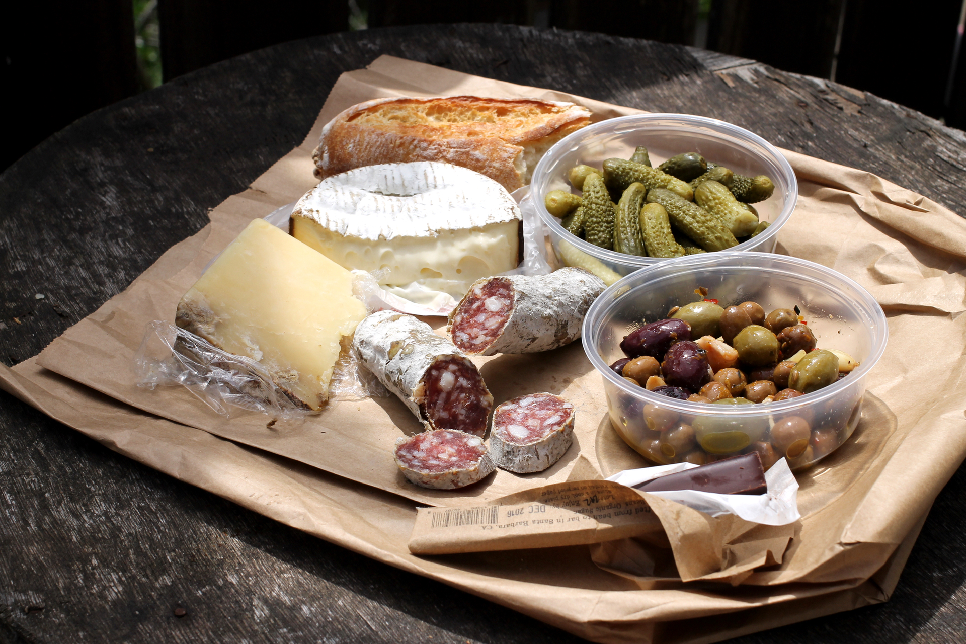 A picnic spread from Market Hall's Pasta Shop.