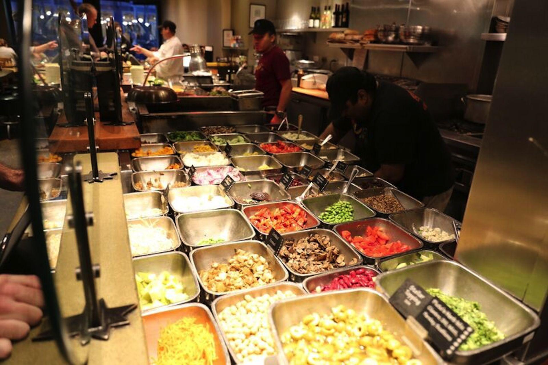 The salad bar at Pluto's