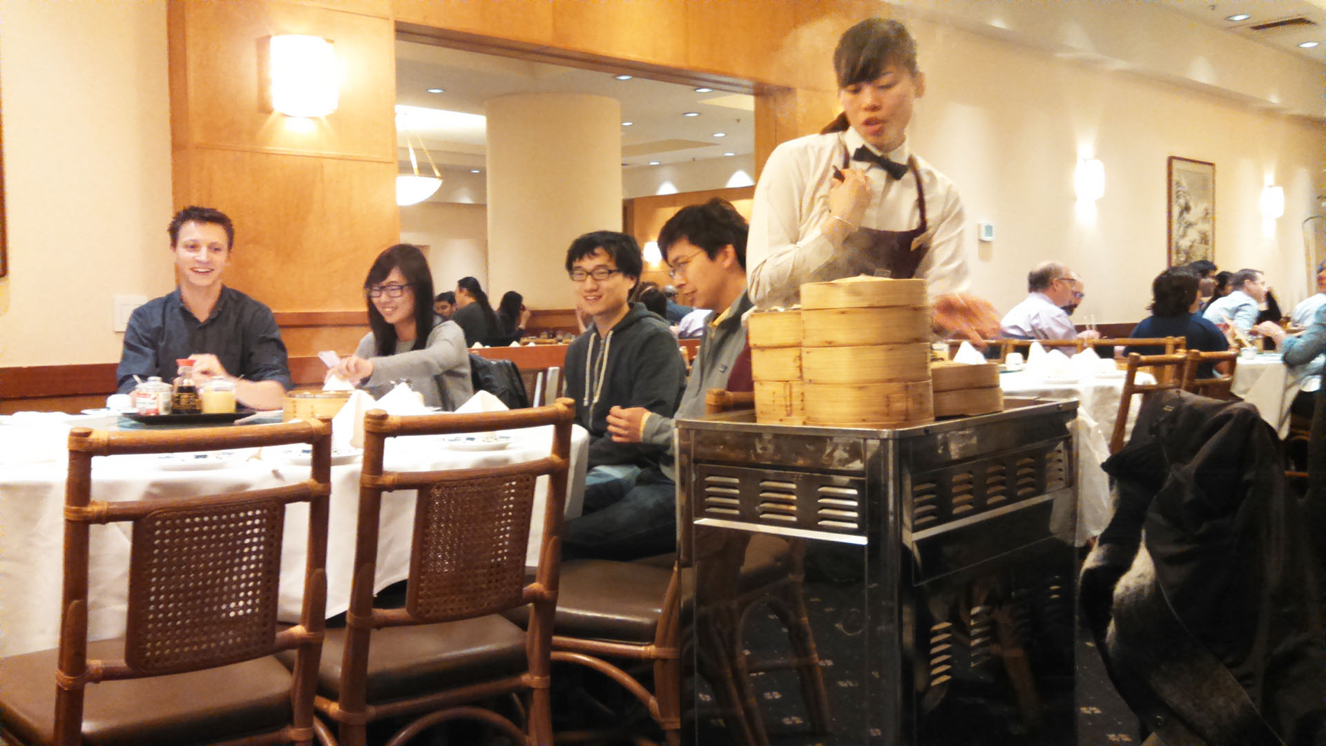 The servers at Yank Sing push a trolley with dumpling options