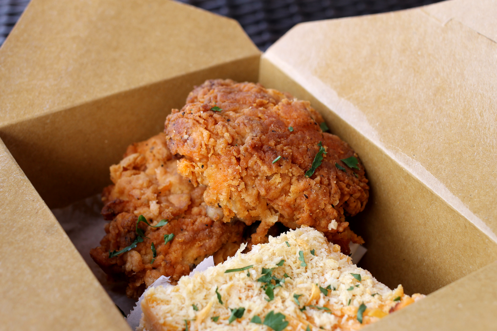 Fried chicken and macaroni and cheese from Zella's.