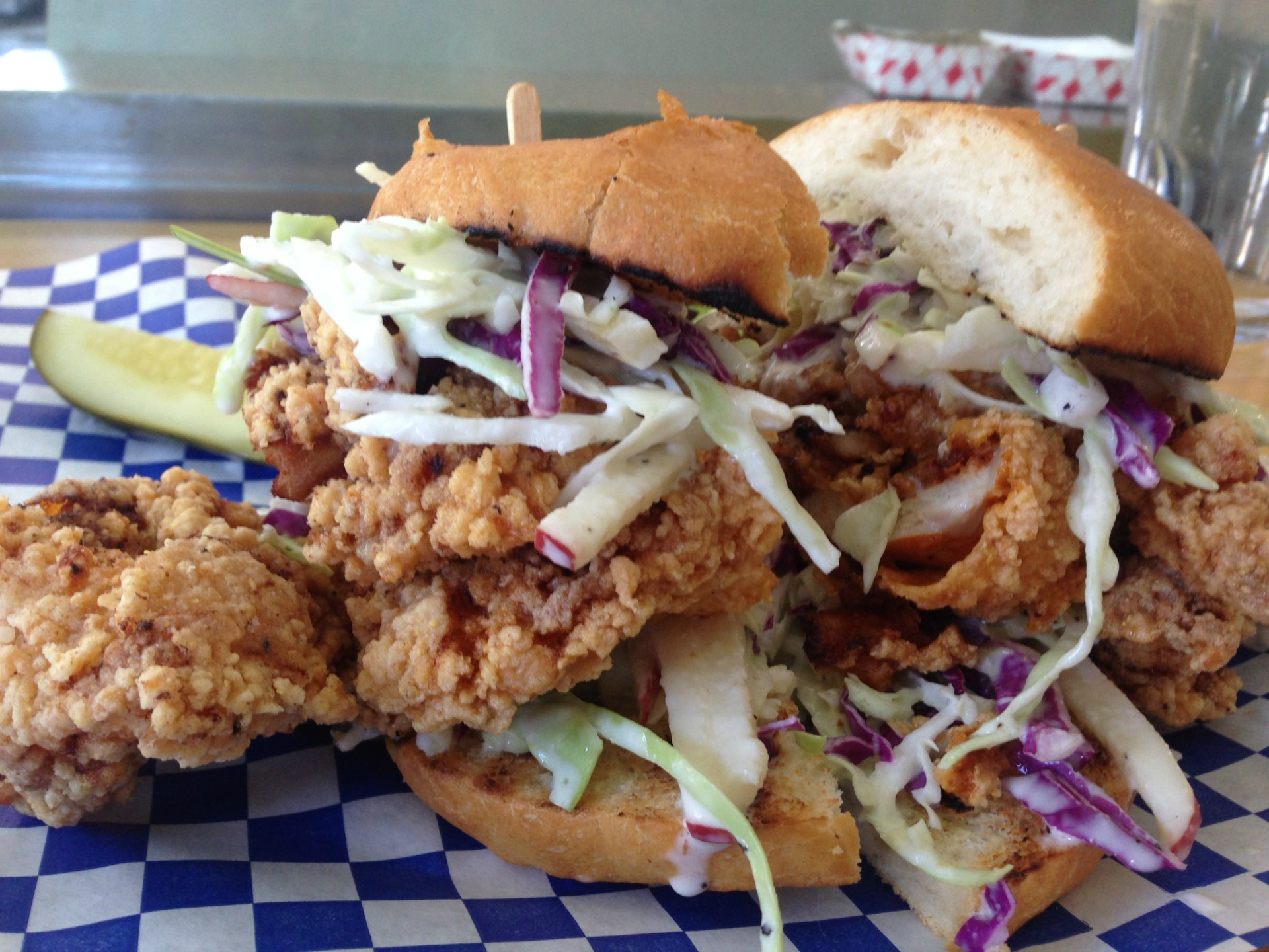 A giant fried chicken sandwich from Rhea's Cafe.
