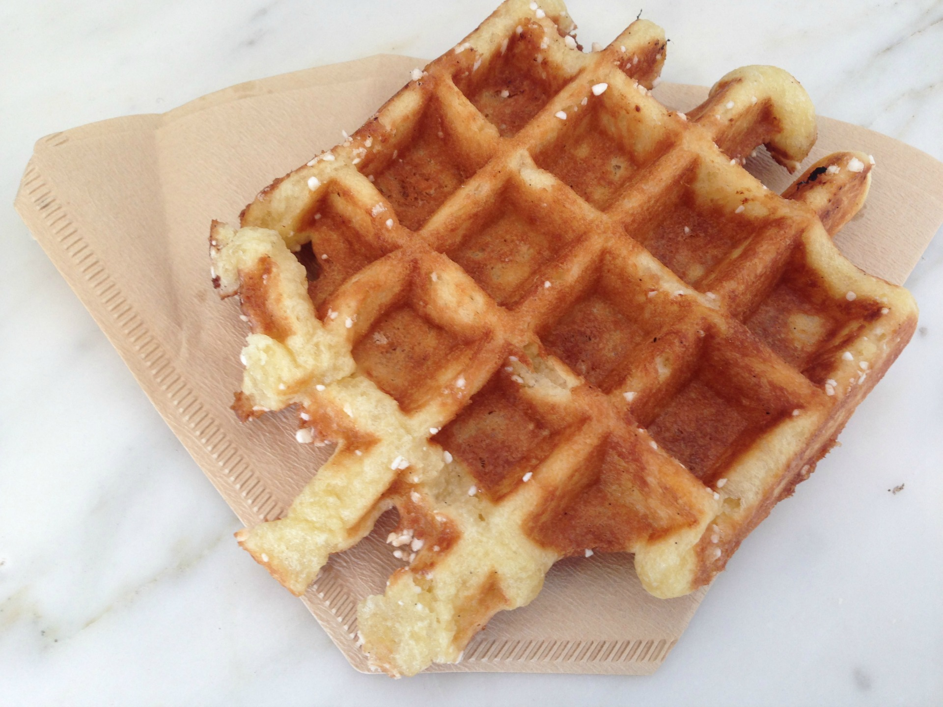 Blue Bottle's liege waffle, served in a coffee filter.