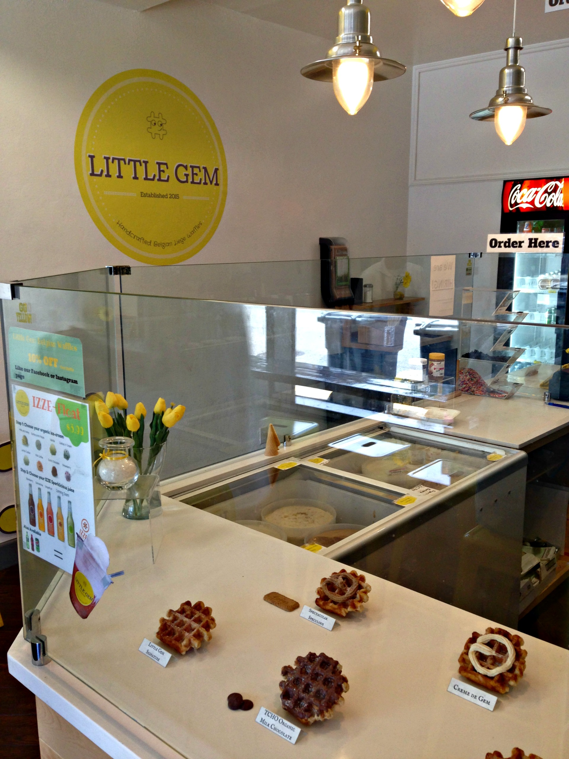 The options at Little Gem Belgian Waffles.