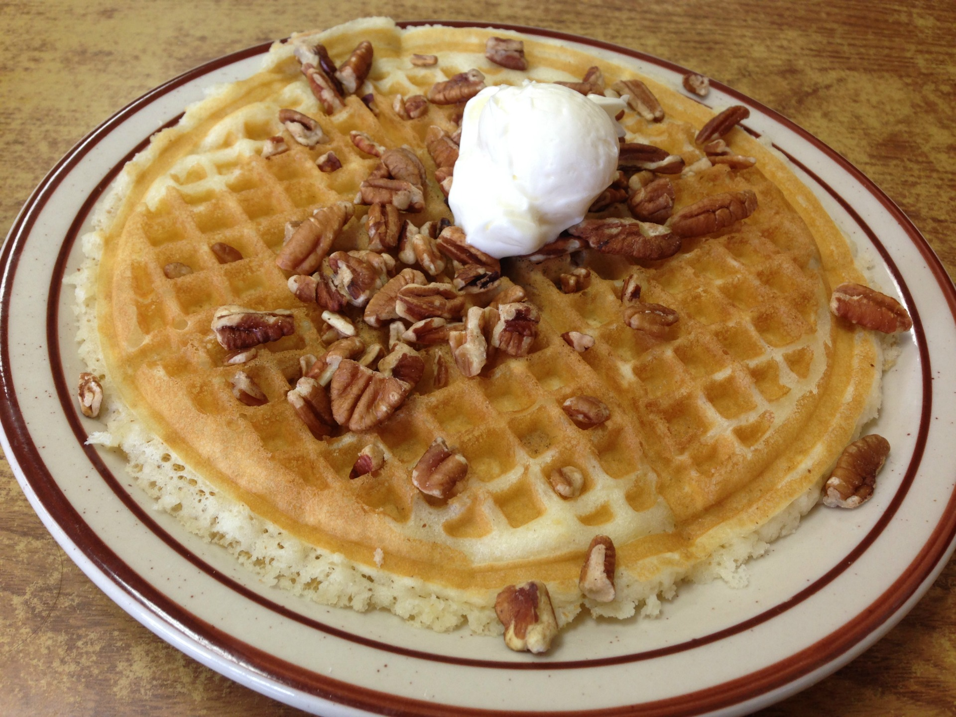 A pecan waffle from Ole's Waffle Shop.