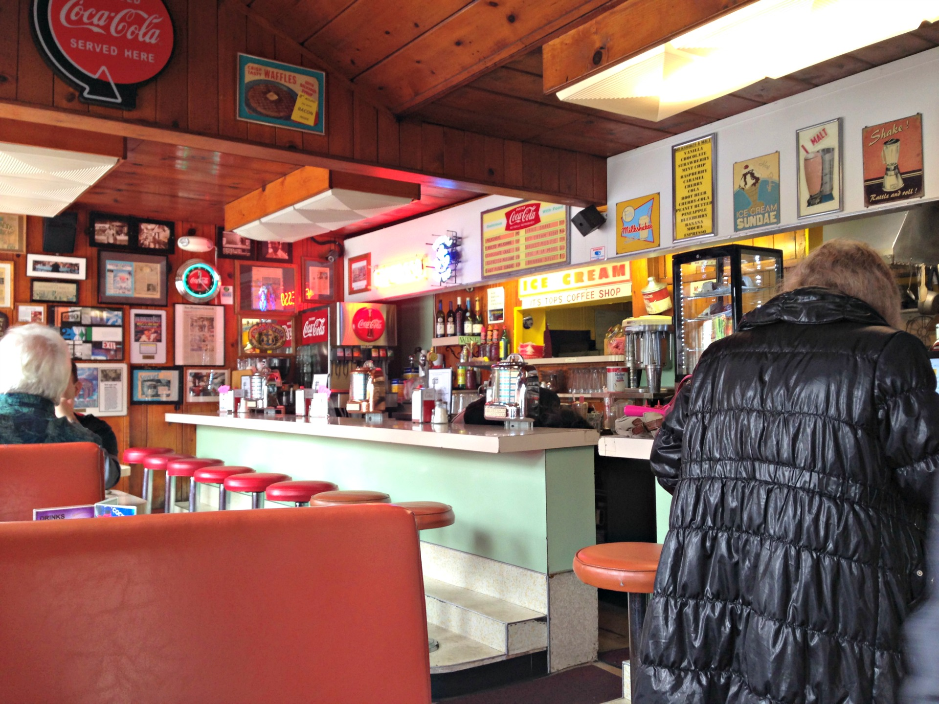 The retro interior of It's Tops Coffee Shop.