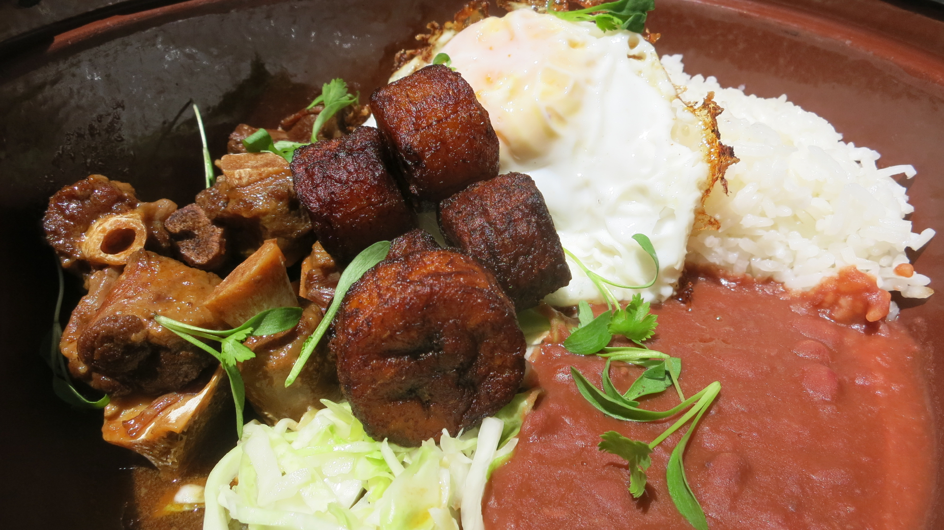 A bowlful of braised black Angus oxtail, stewed beans, steamed rice, coleslaw with maduros (plantains) and a fried egg makes for a hearty lunch from alaMar.