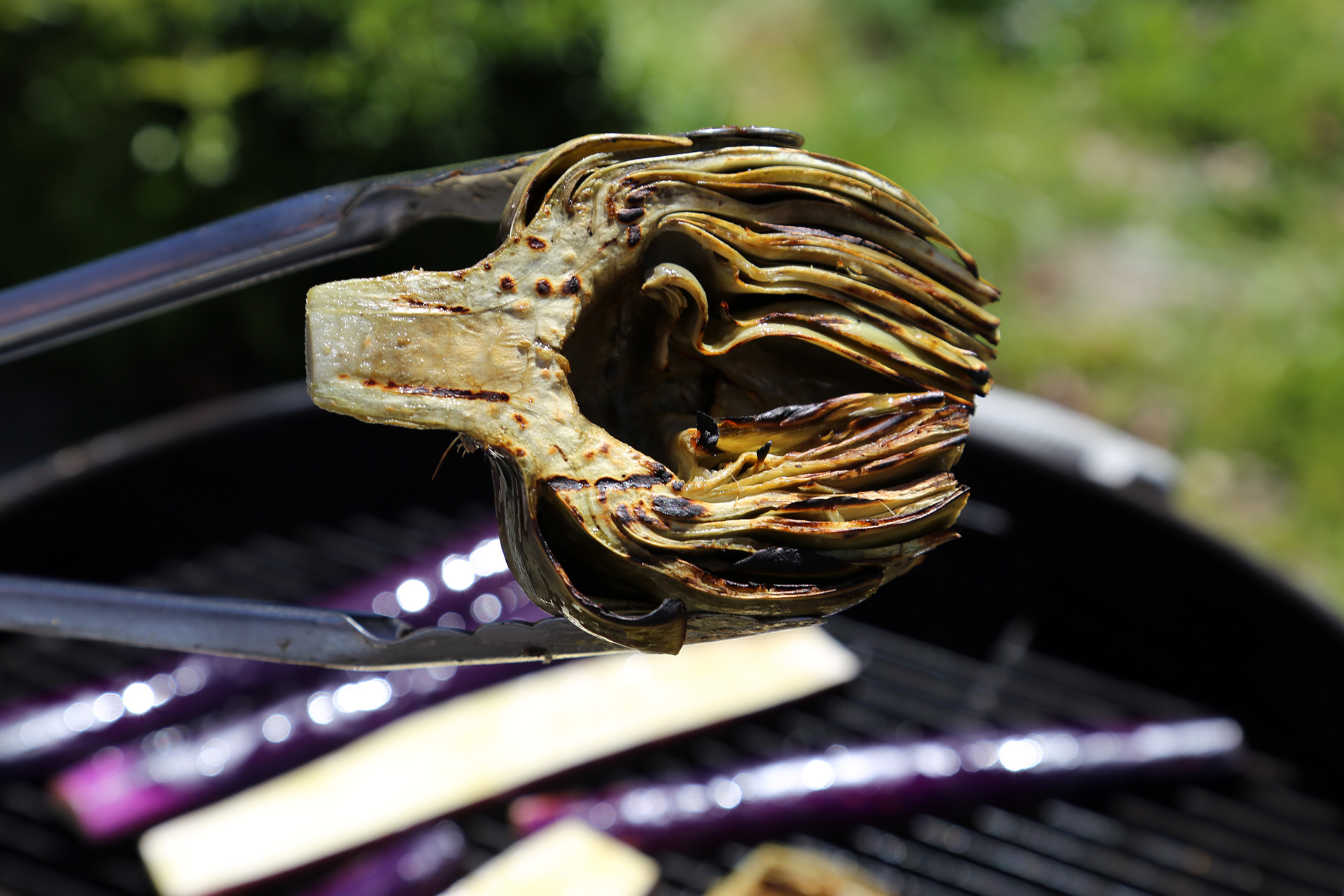 Cook until the artichokes are nicely grill-marked and tender.