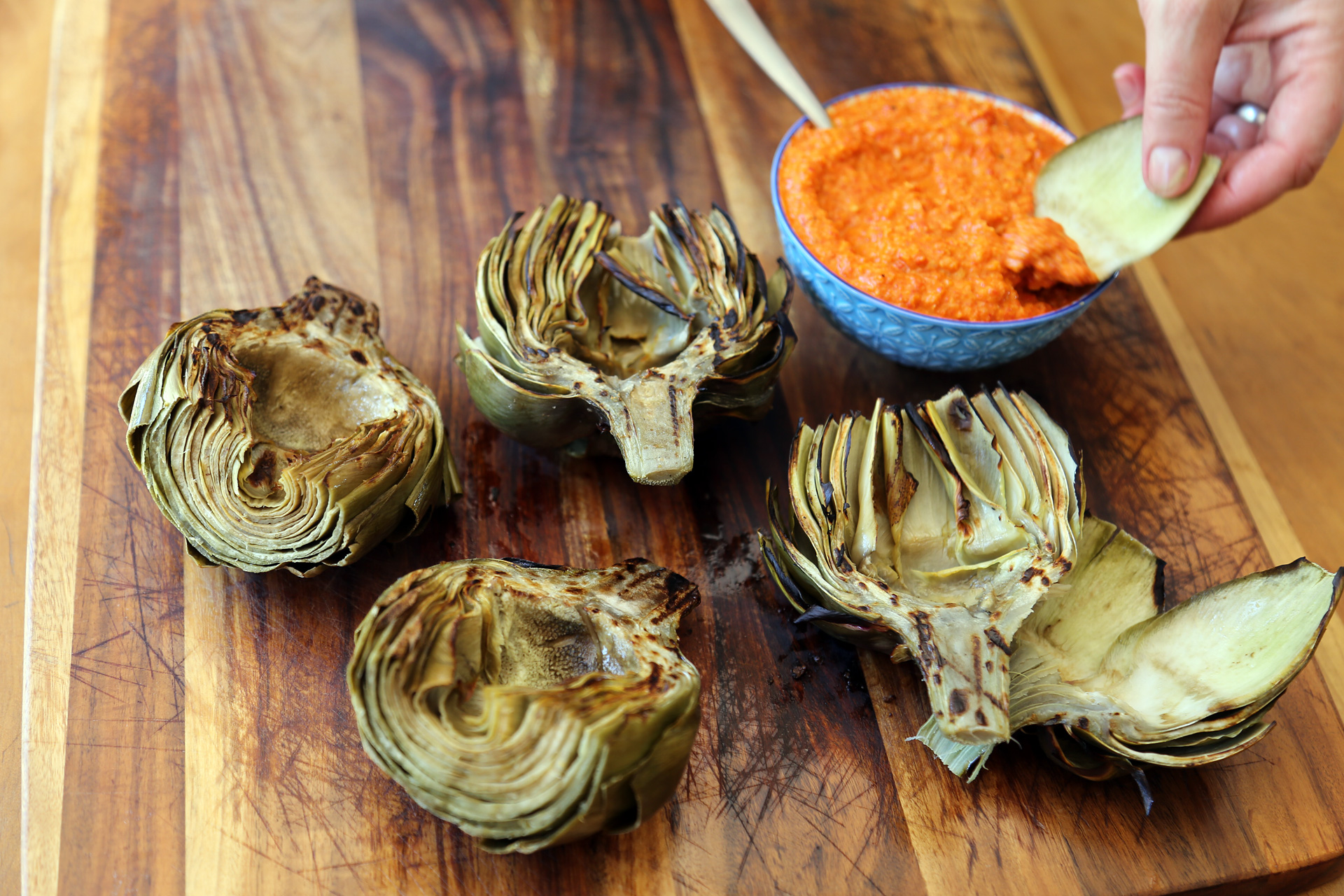 Grilled Artichokes with Romesco Sauce
